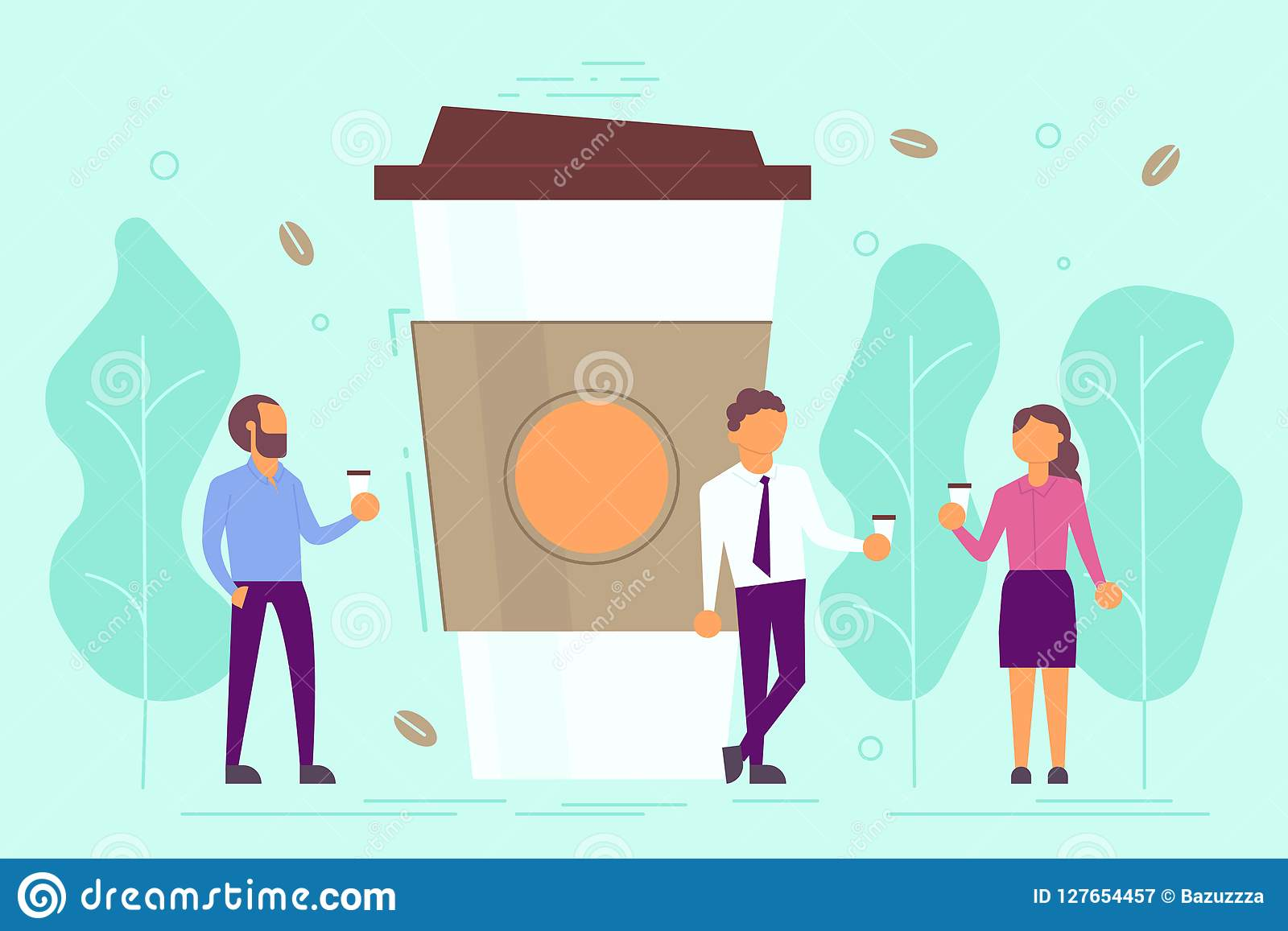 Ilustração do vetor do conceito da ruptura de café no estilo liso