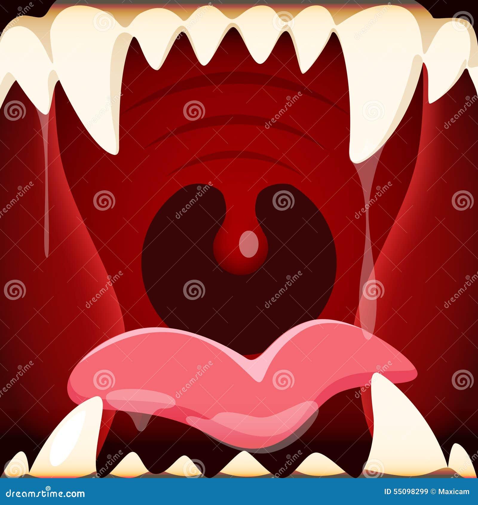 ilustração do vetor da boca aberta dos desenhos animados com um