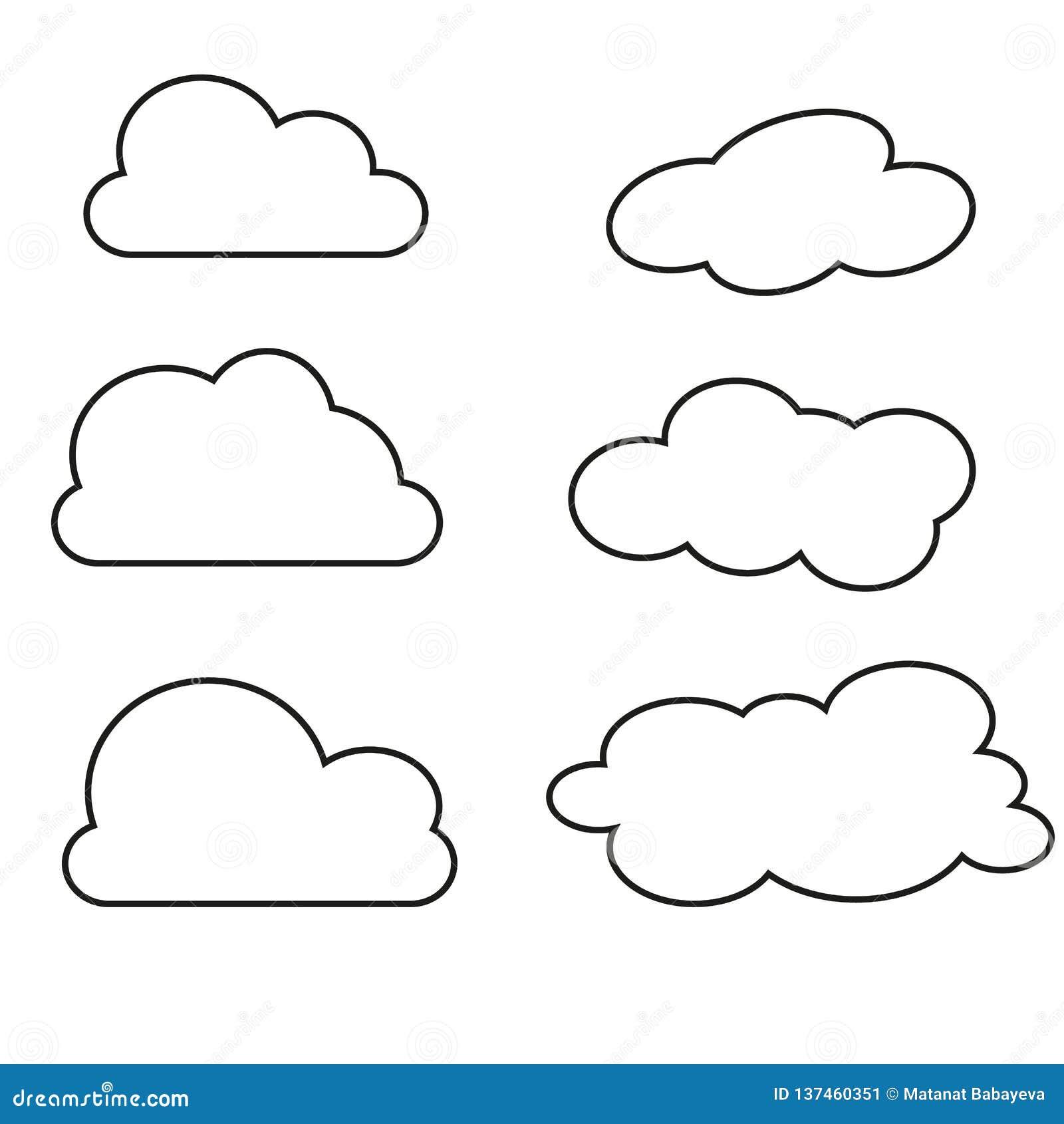 Ilustração do vetor da coleção das nuvens Linhas finas ícones
