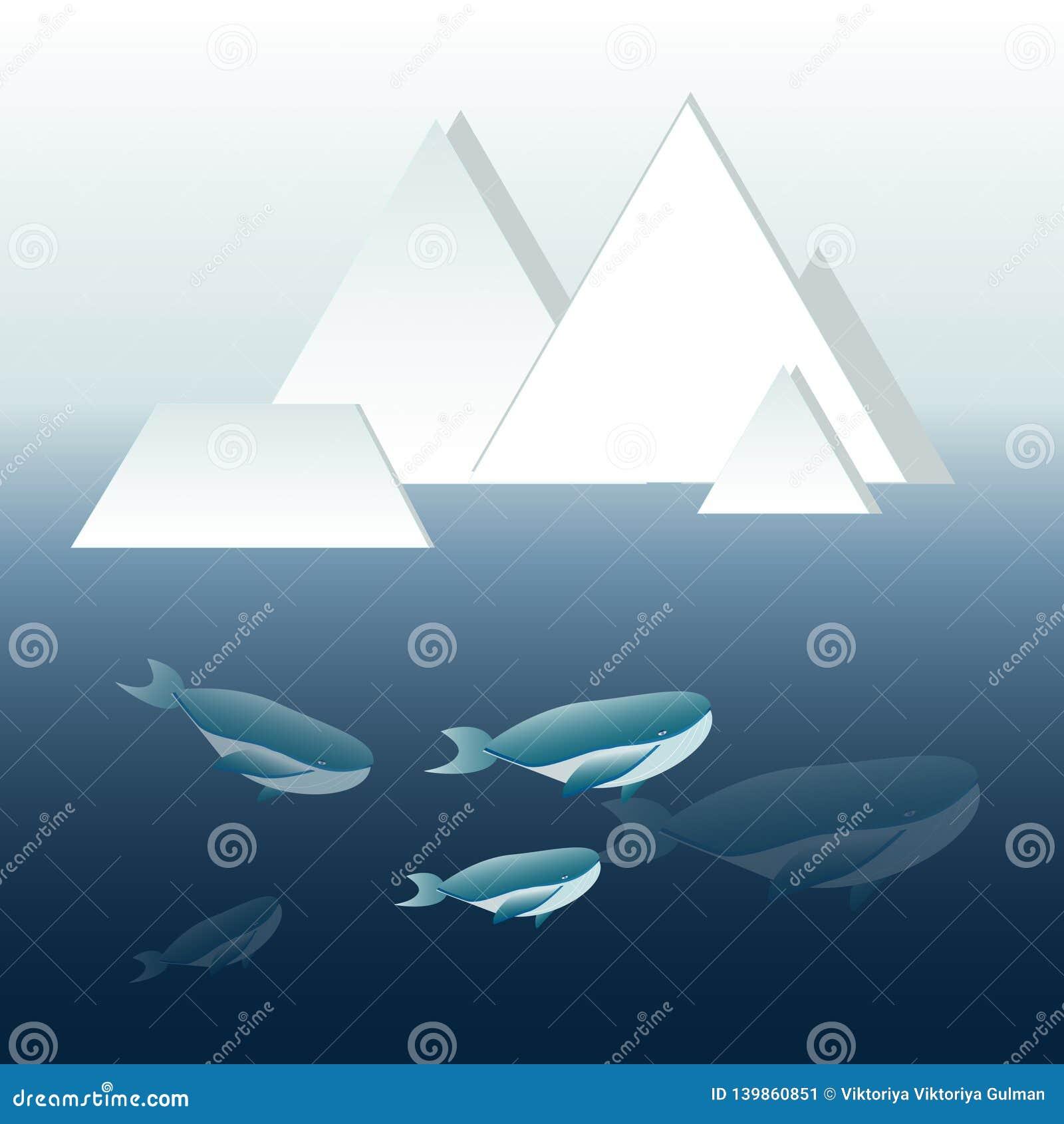 Ilustração do vetor da família das baleias azuis profundamente no oceano com iceberg fora