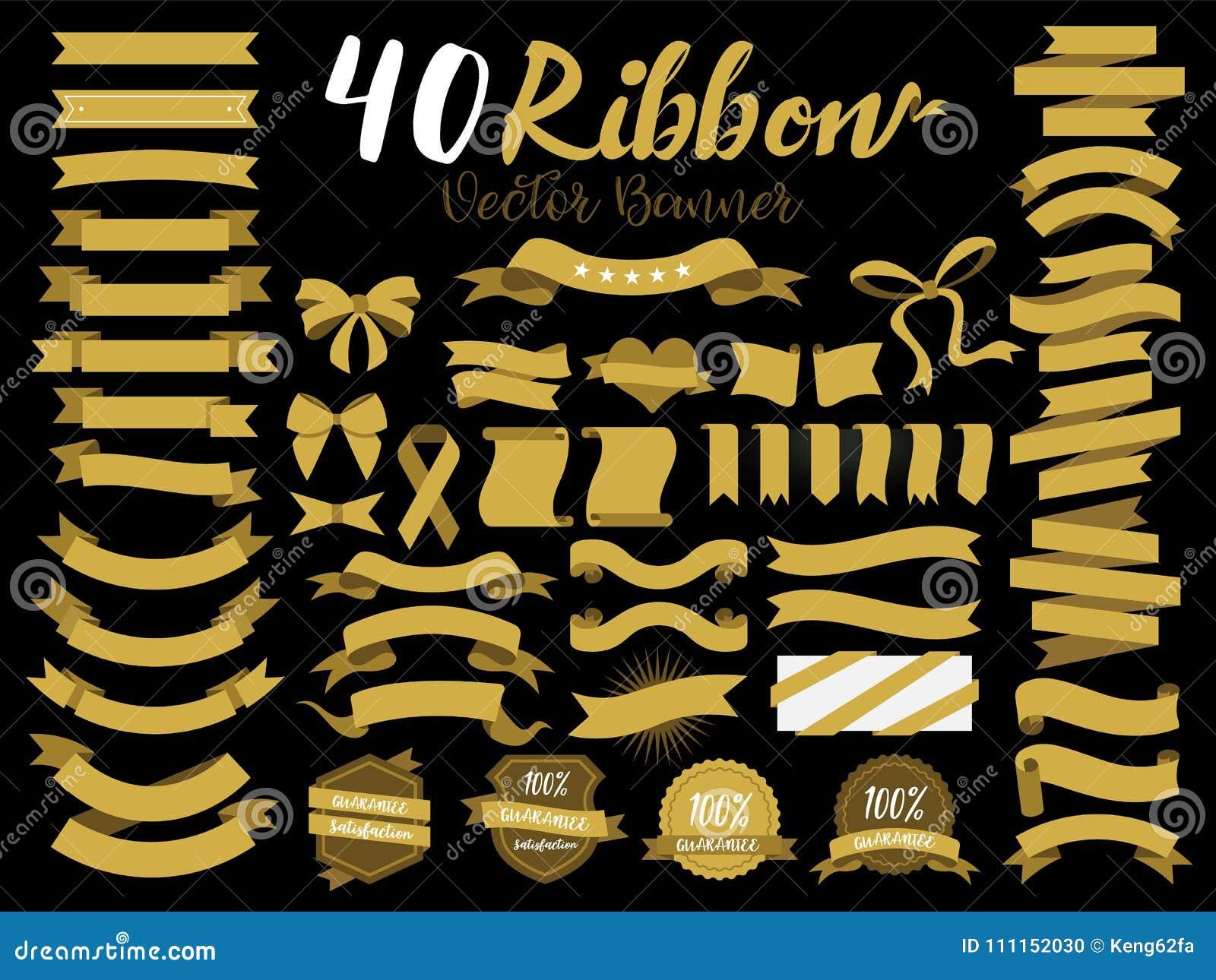 Ilustração do vetor da fita do ouro 40 com projeto liso Incluiu o elemento gráfico como o crachá retro, etiqueta da garantia, eti