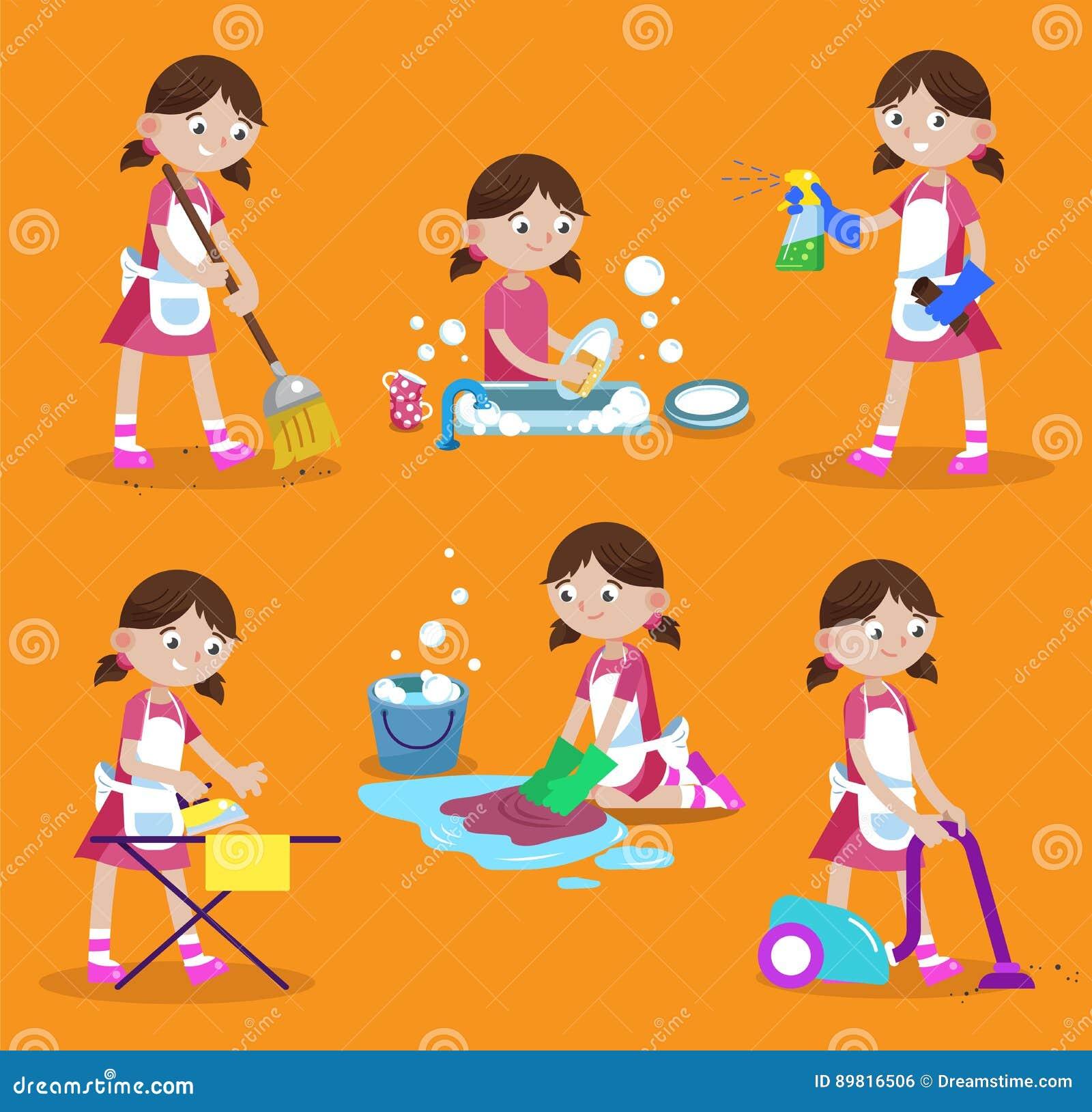 Ilustração do vetor da limpeza Limpeza da casa A menina é ocupada em casa: lave pratos, lave o assoalho, ferro, vácuo, varredura,