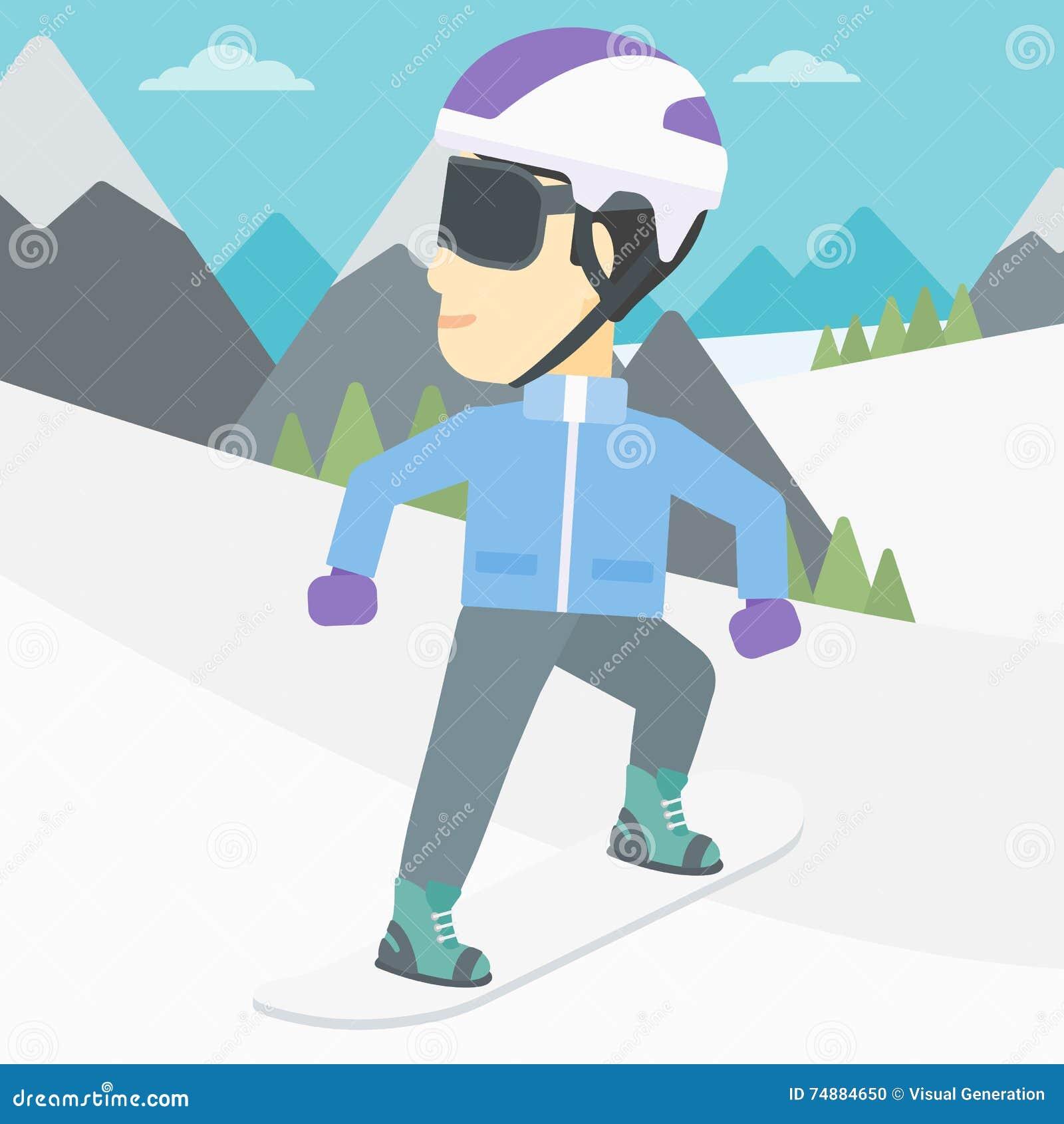 Ilustração do vetor da snowboarding do homem novo