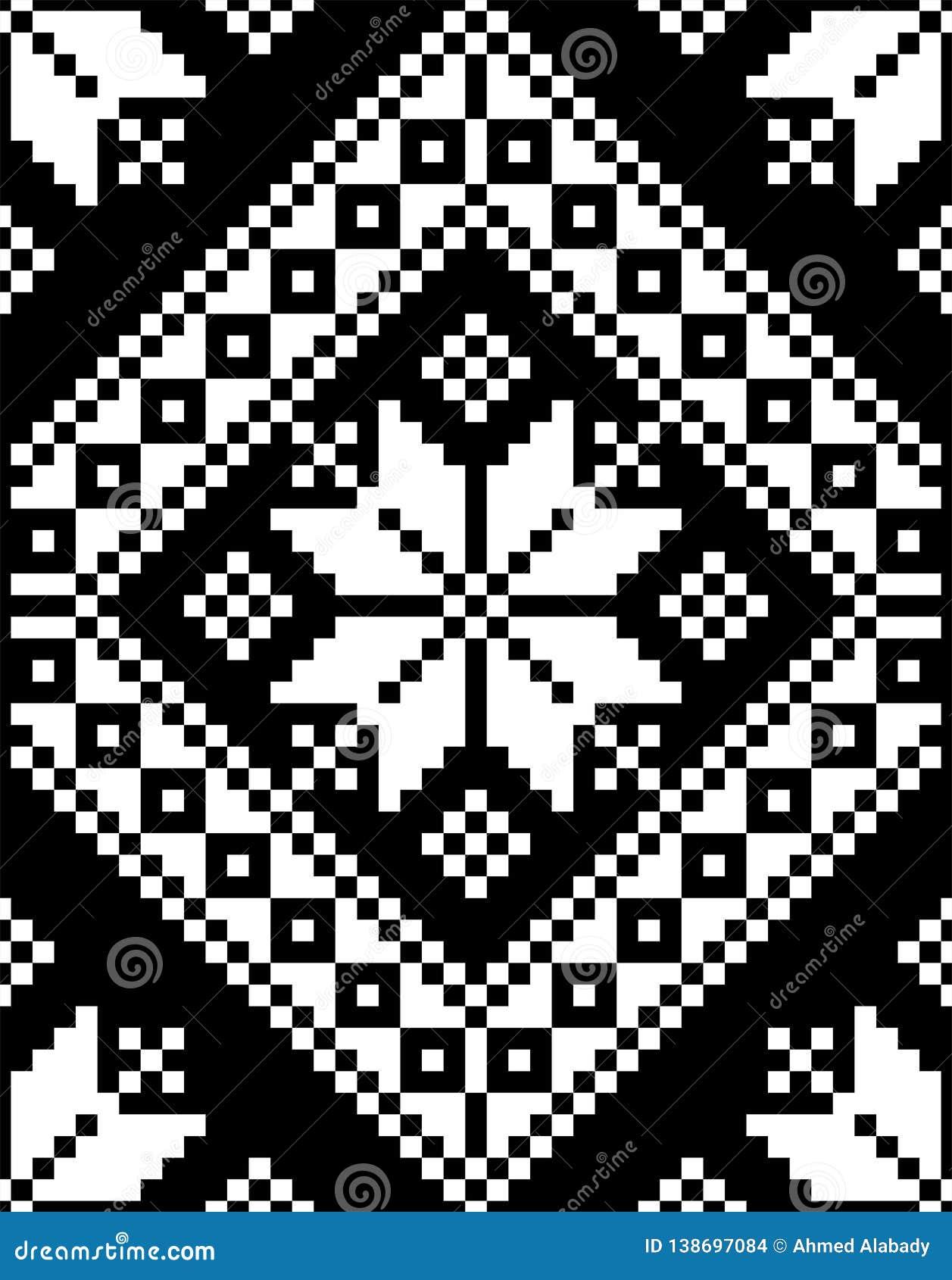 Ilustração do vetor da textura do bordado do motivo do mosaico