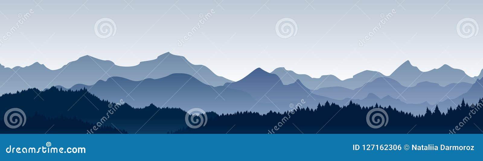 Ilustração do vetor da vista panorâmica bonita Montanhas na névoa com floresta, fundo da montanha da manhã, paisagem