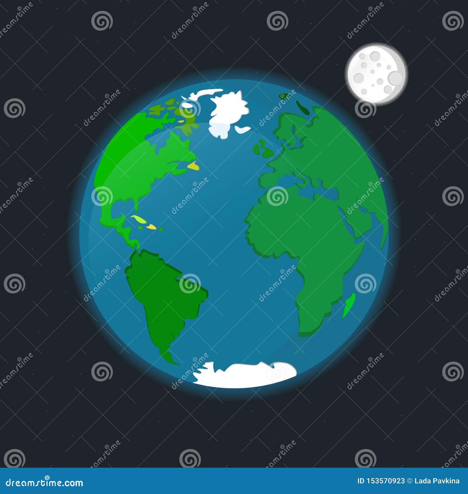 Ilustração do vetor das estrelas da lua do satélite de terra do planeta do espaço