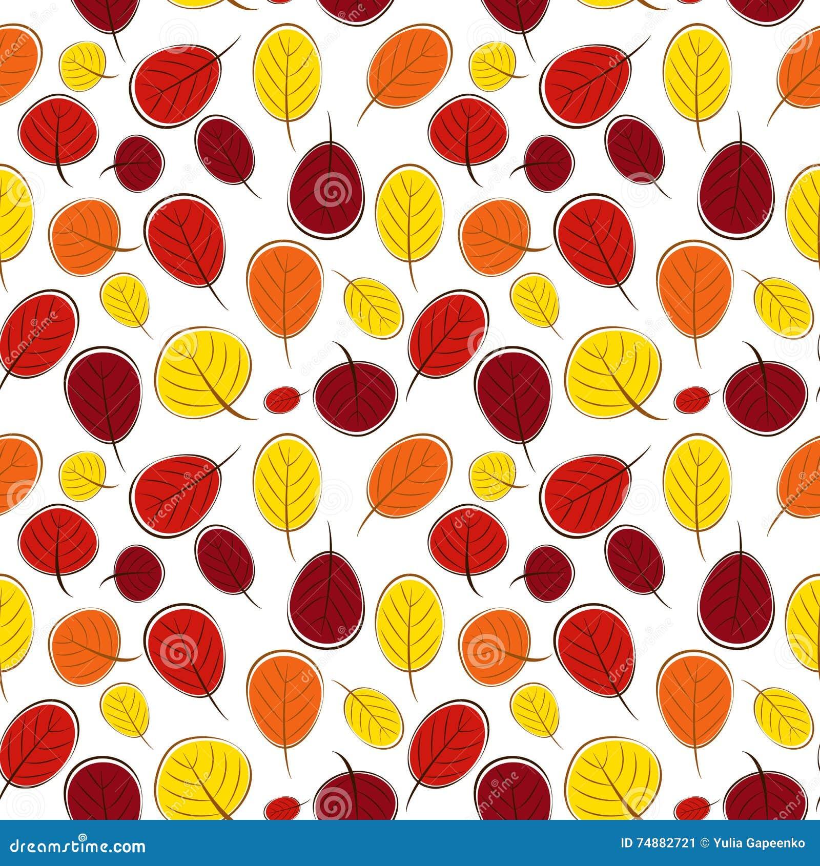 Ilustração do vetor de Autumn Leaves Seamless Pattern Background