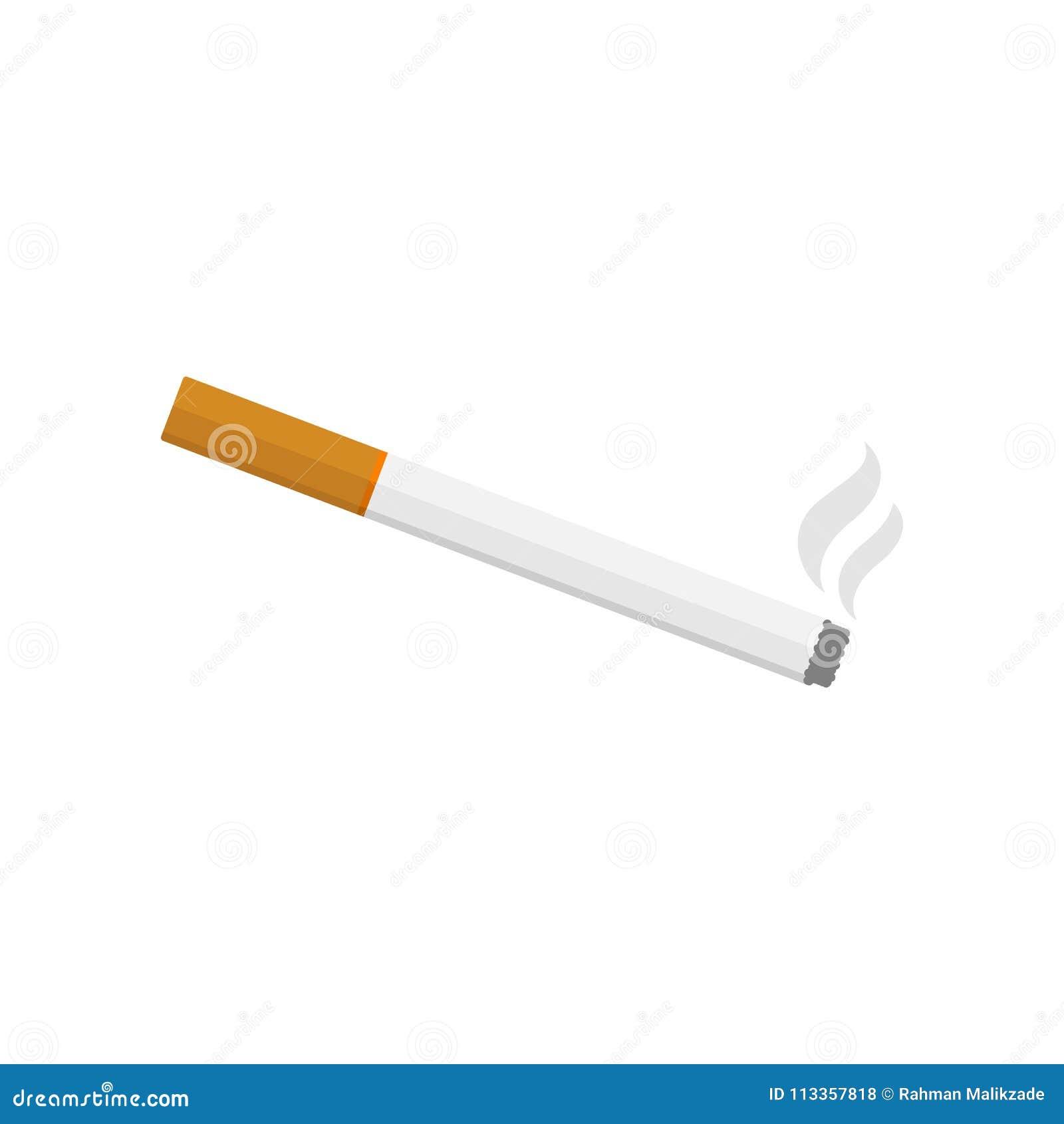 Ilustração do vetor de cigarro ardente com fumo Projeto liso