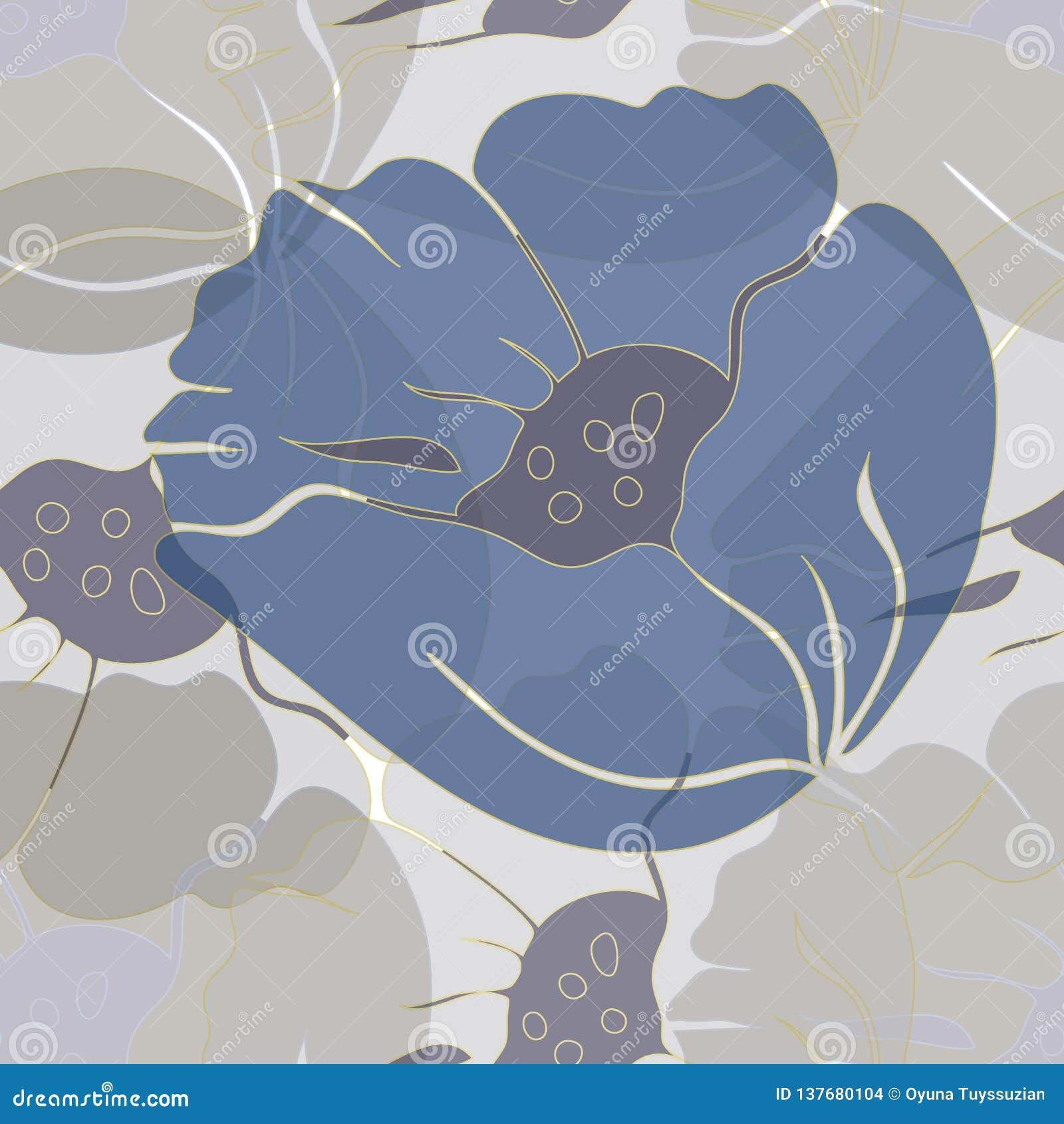 Ilustração do vetor de papoilas azuis pairosas, abstratas estilizados