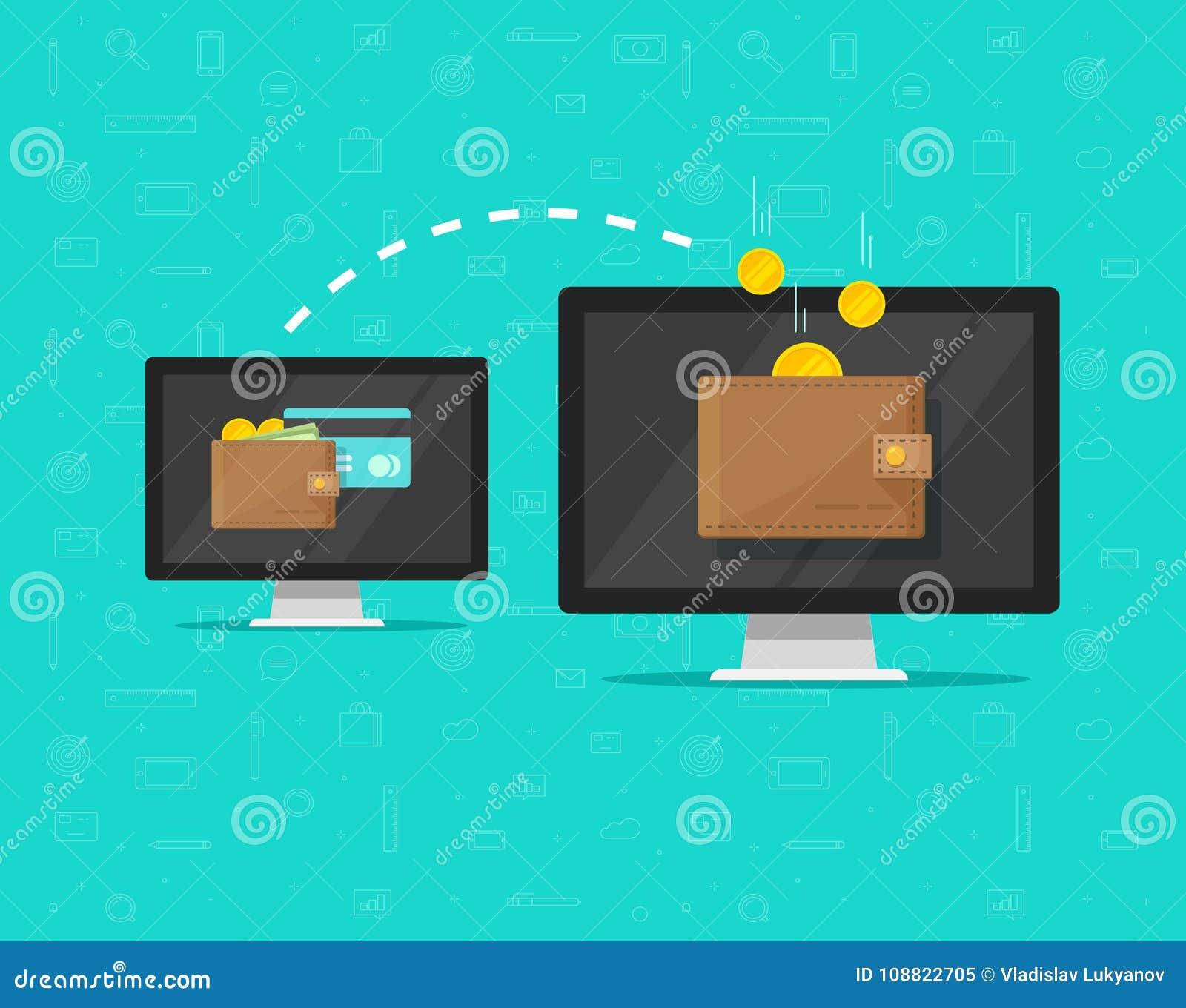 Ilustração do vetor de transferência de dinheiro eletrônico, estilo liso dos desenhos animados do PC de dois computadores com tra