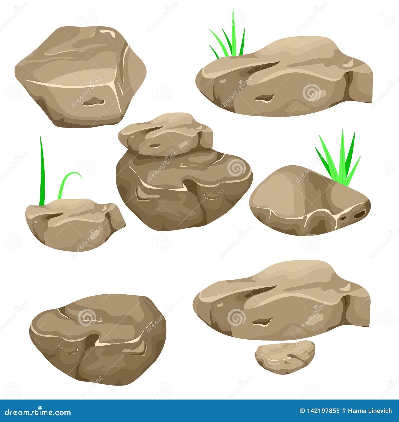 Ilustração do vetor de um grupo de pedregulhos, de pedras e de pedras separados dos desenhos animados de várias formas