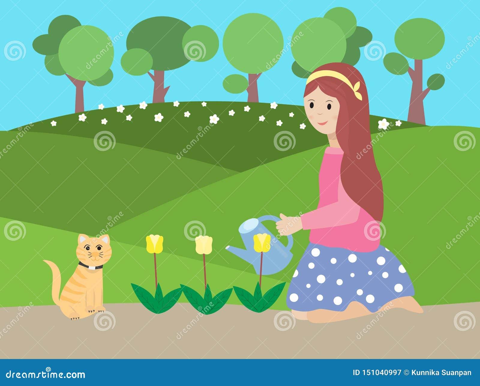 Ilustração do vetor de uma flor molhando da menina