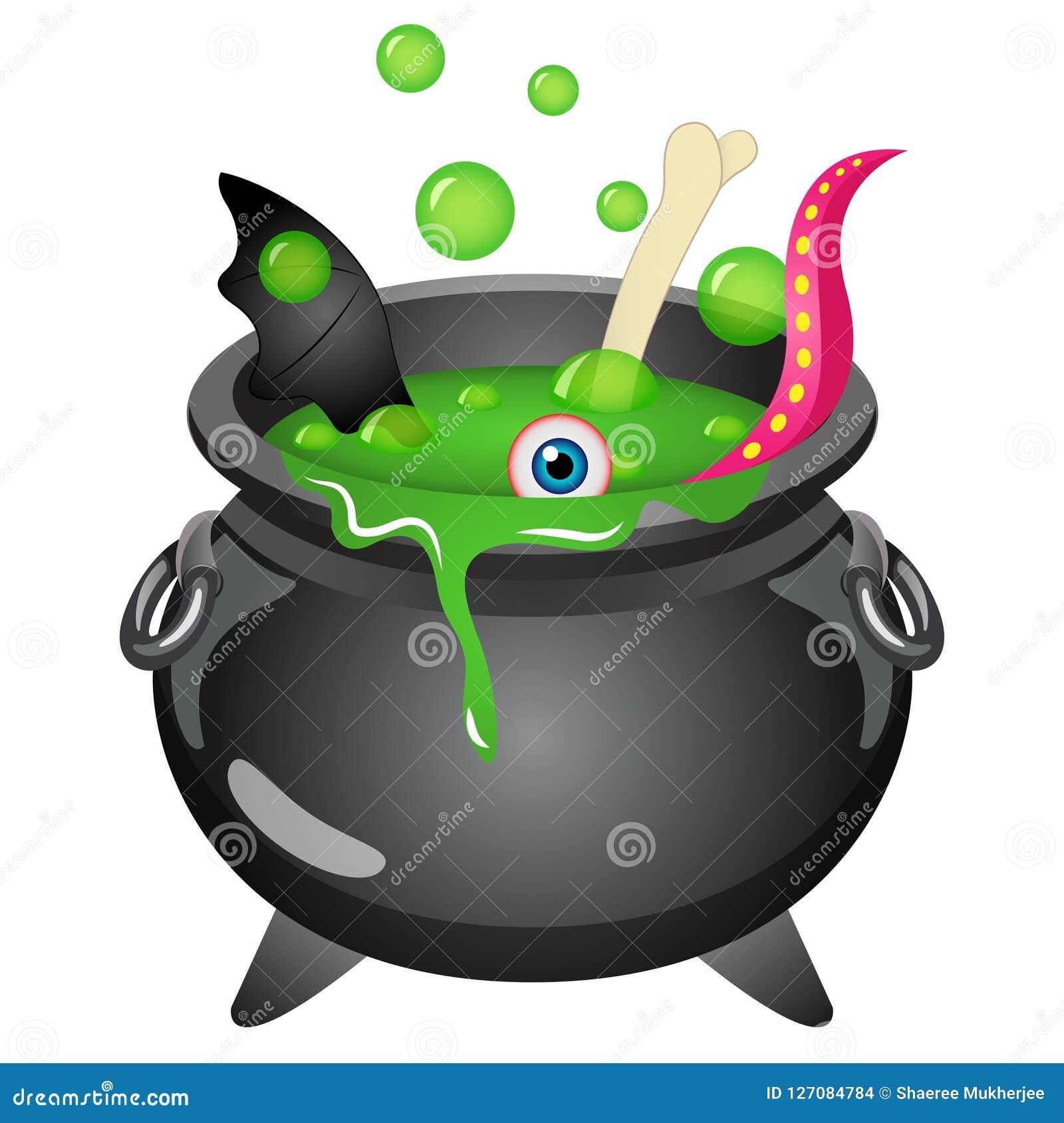 Ilustração do vetor do Dia das Bruxas do caldeirão da bruxa dos desenhos animados