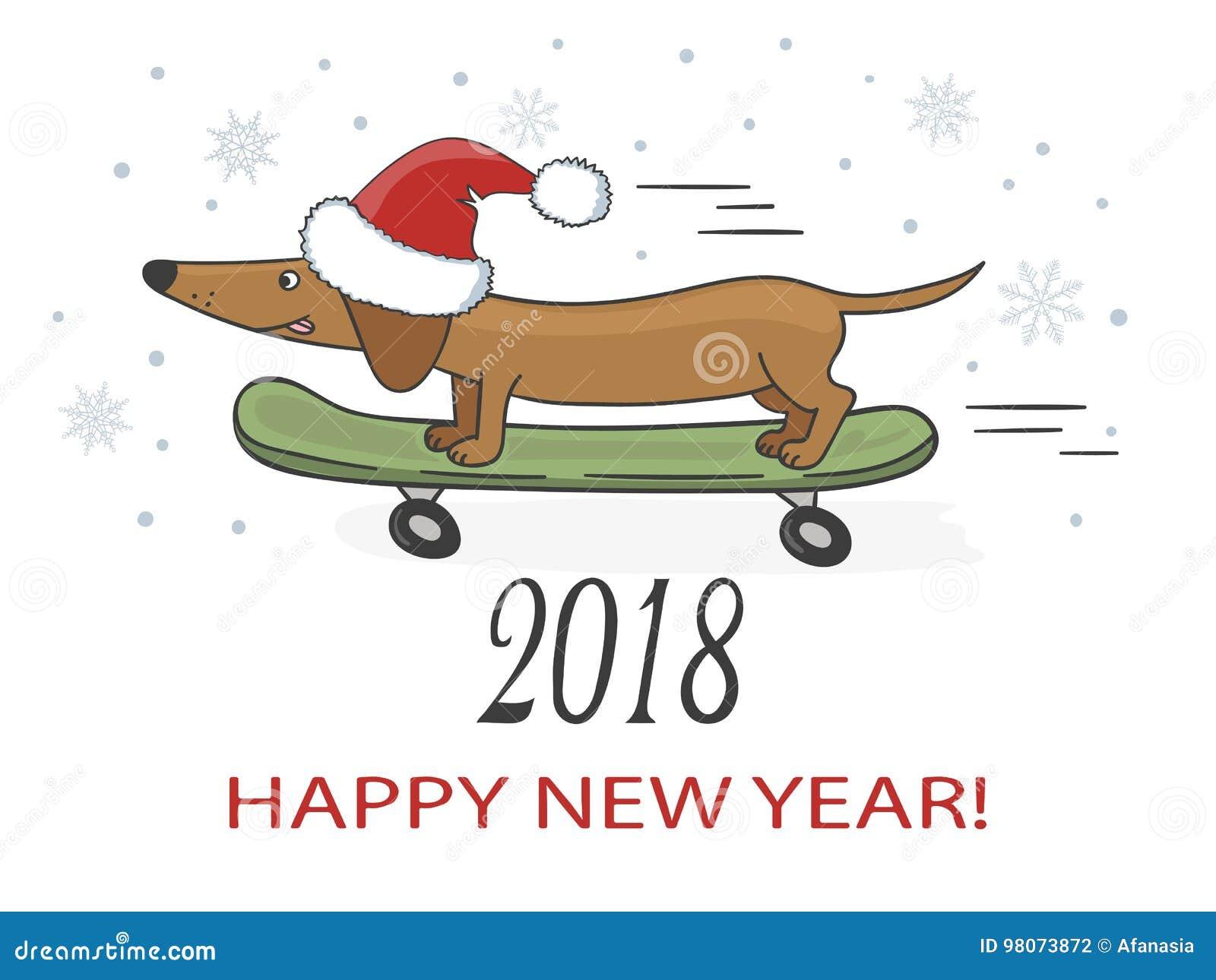Ilustração do vetor do ano novo feliz 2018 com o cão bonito do bassê