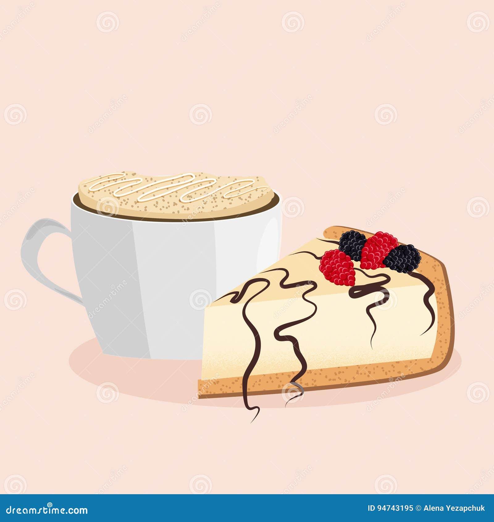 Ilustração do vetor do bolo de queijo e do cappuccino