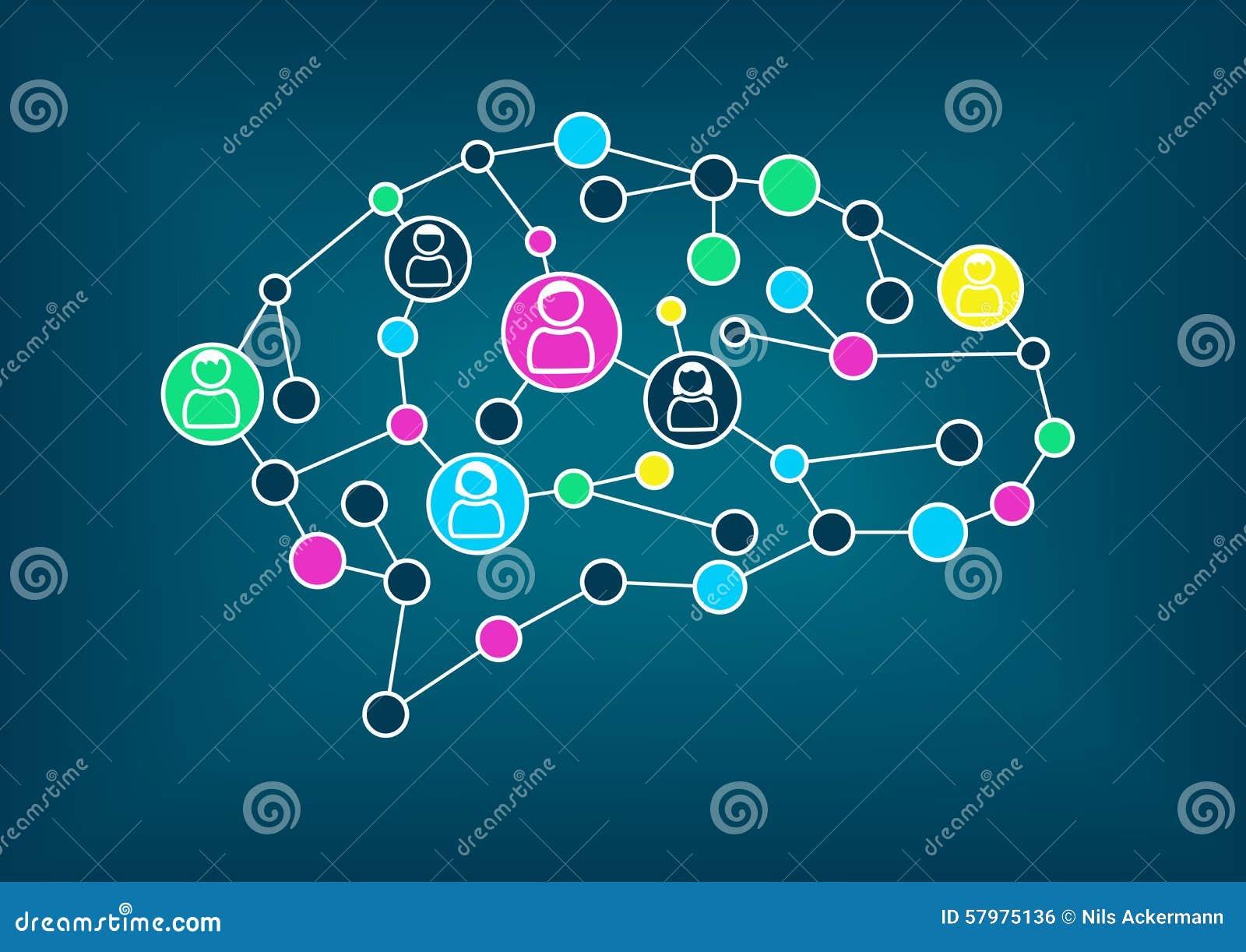Ilustração do vetor do cérebro Conceito da conectividade, aprendizagem de máquina, inteligência artificial