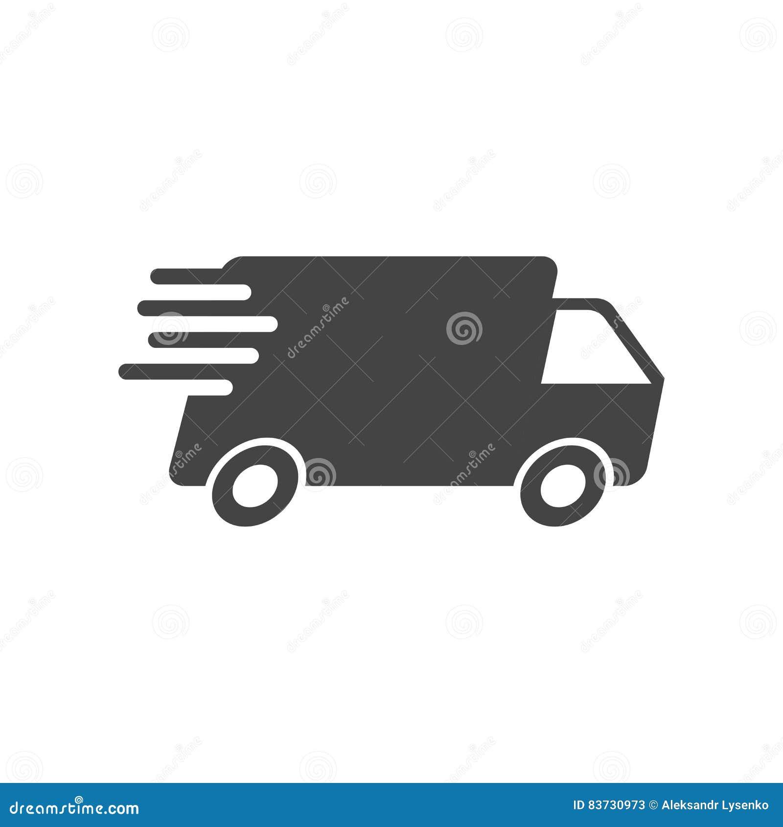 Ilustração do vetor do caminhão de entrega Ícone rápido do transporte do serviço de entrega