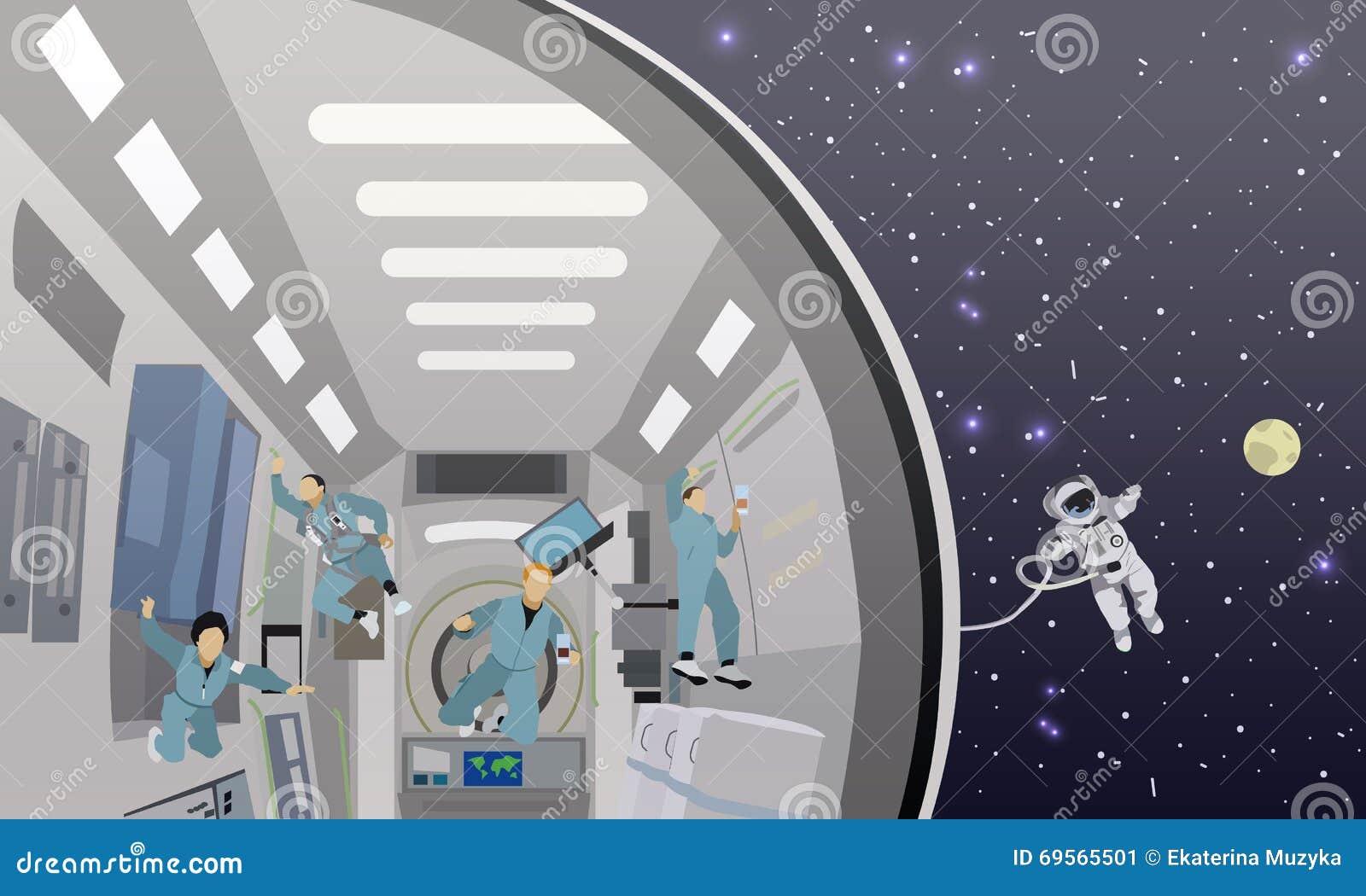 Ilustração do vetor do conceito da missão espacial Cosmonautas que voam em nenhuma gravidade