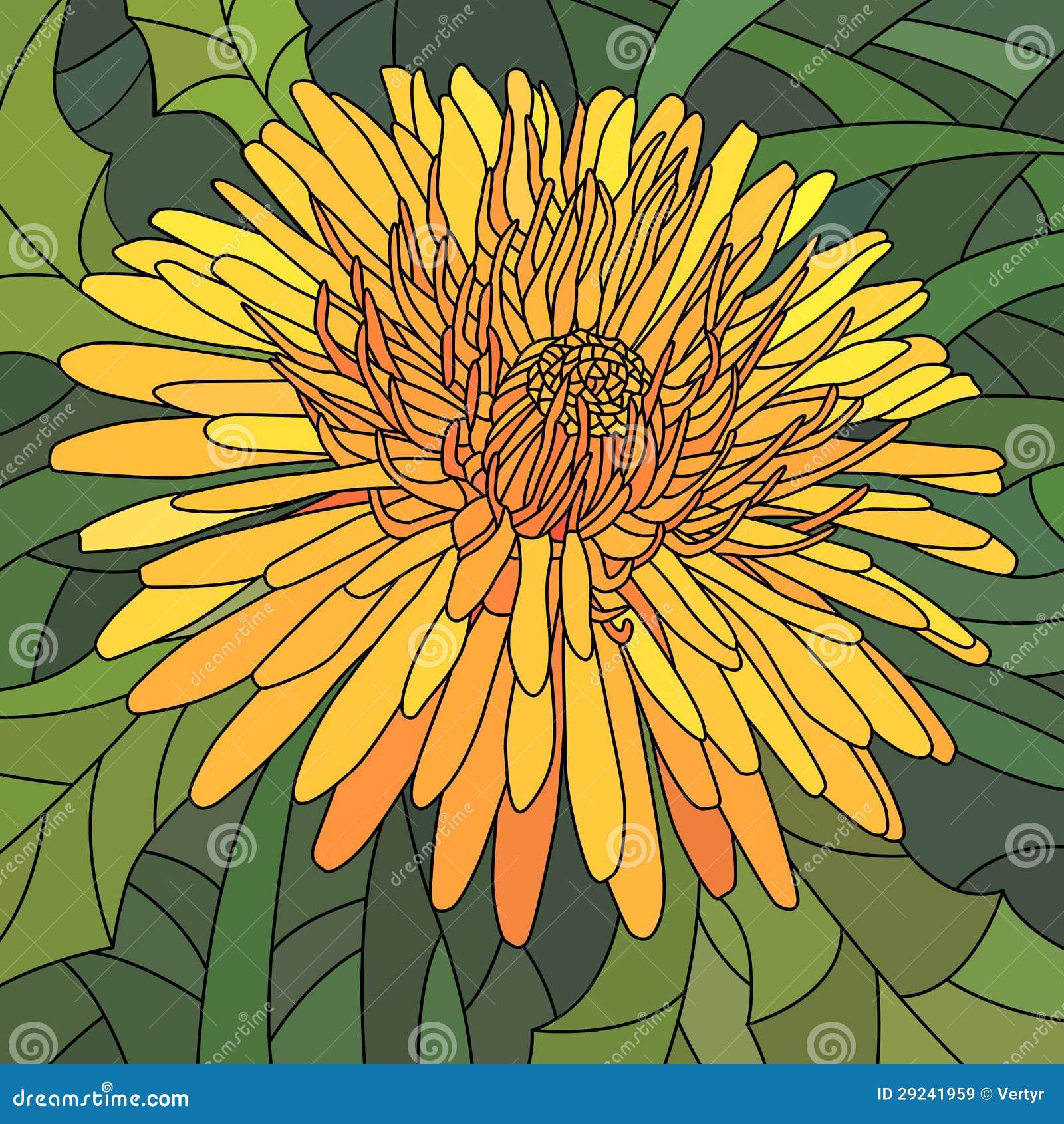 Download Ilustração Do Vetor Do Dente-de-leão Da Laranja Das Flores. Ilustração do Vetor - Ilustração de cartoon, janela: 29241959