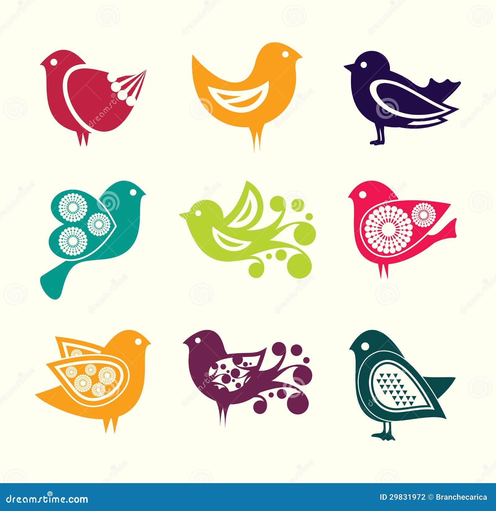 Grupo de ícones dos pássaros do doodle dos desenhos animados
