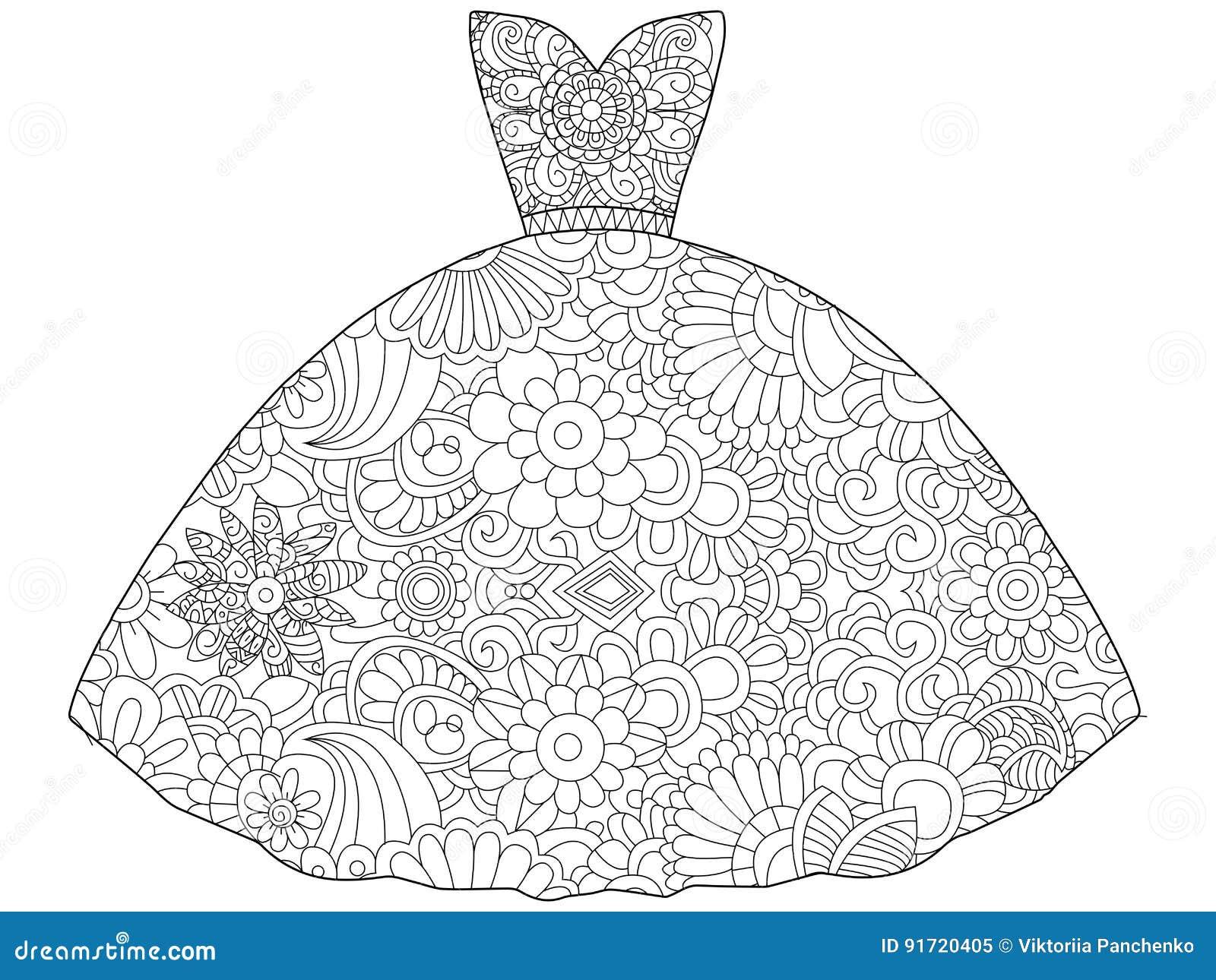 Ilustracao Do Vetor Do Livro Para Colorir Da Princesa Do Vestido