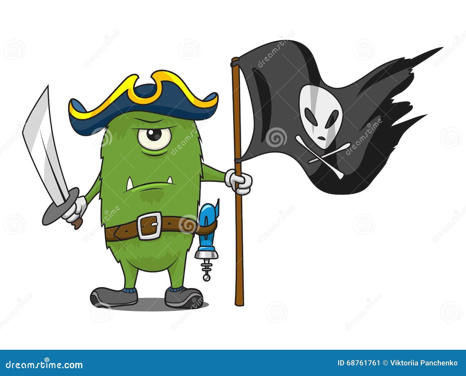 Ilustracao Do Vetor Do Monstro Do Pirata Do Espaco Dos Desenhos
