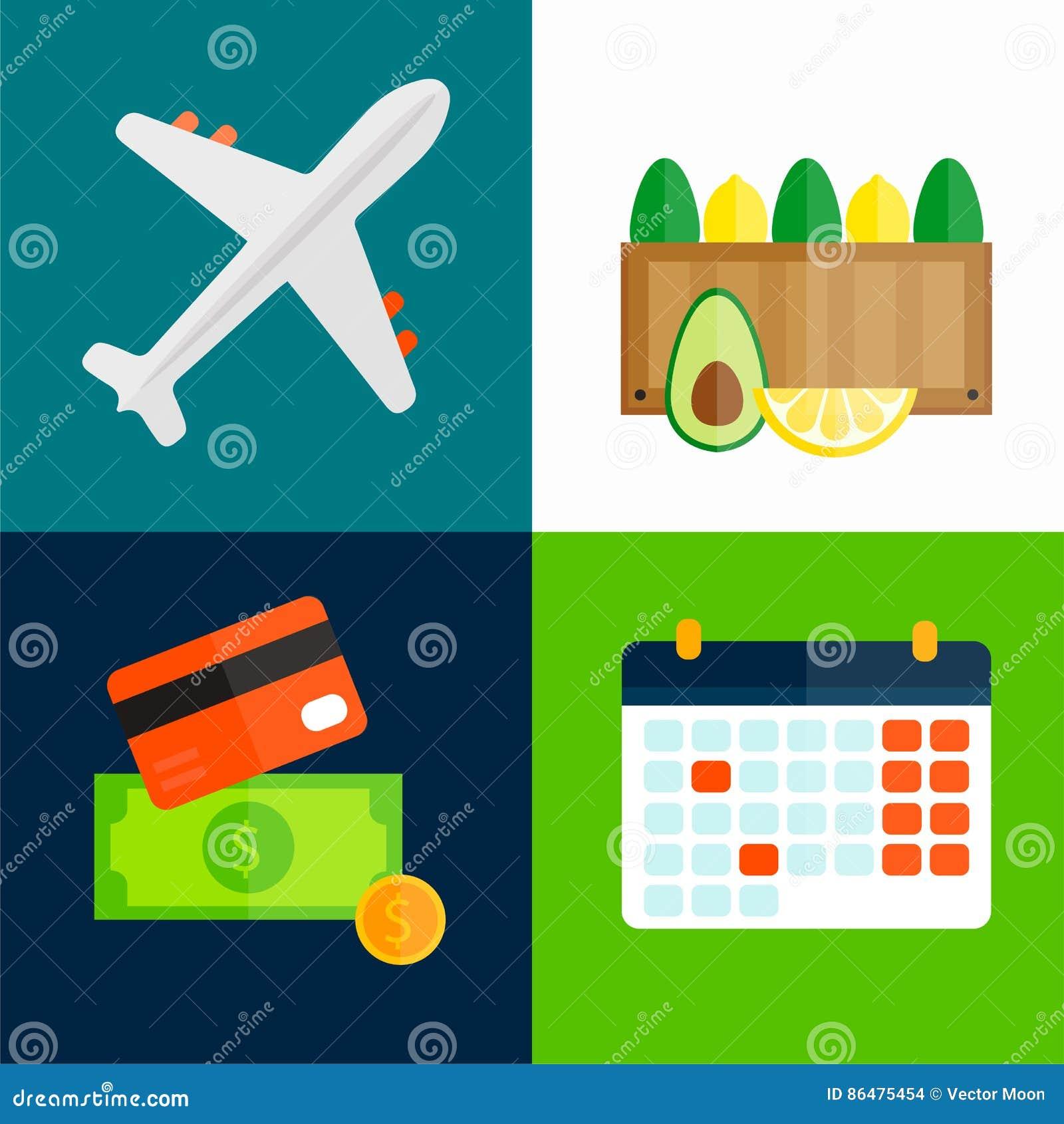 Ilustração do vetor do transporte do avião dos frutos da exportação da importação