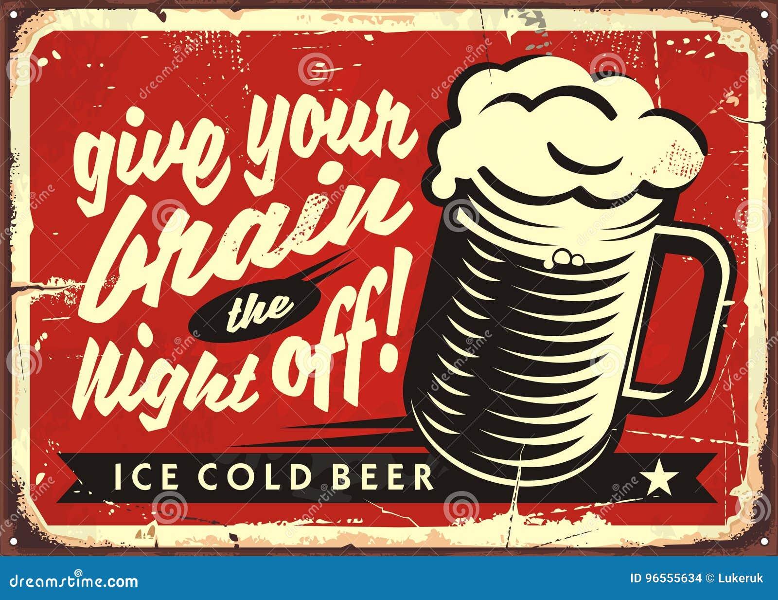 Ilustração do vetor do vintage com vidro de cerveja no fundo vermelho