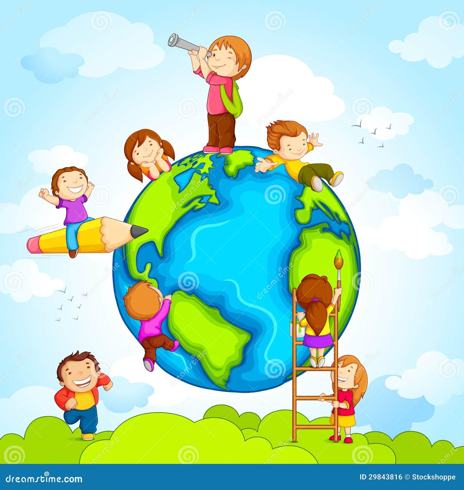 Miúdos em torno do globo
