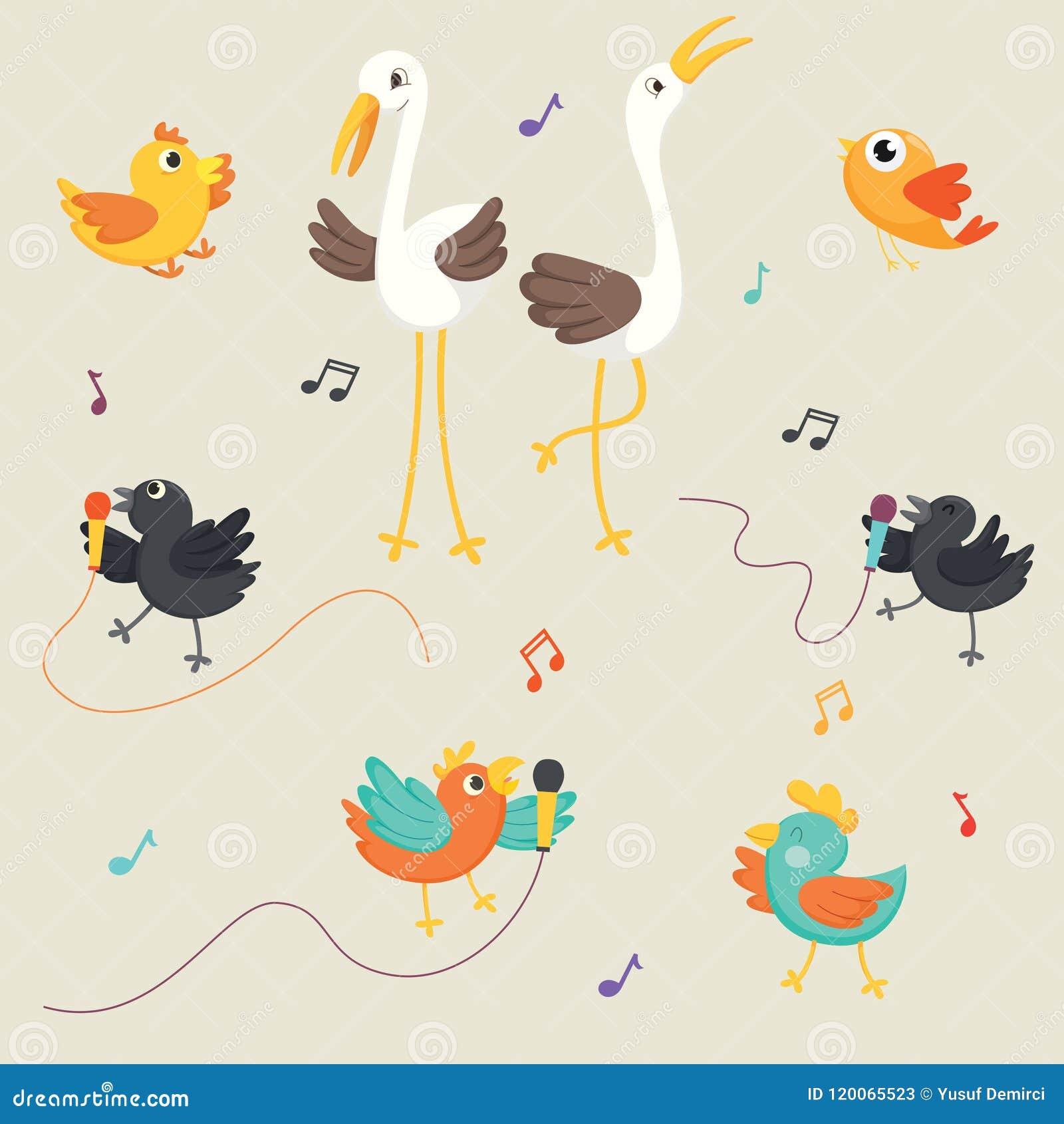 Ilustração do vetor dos pássaros que cantam
