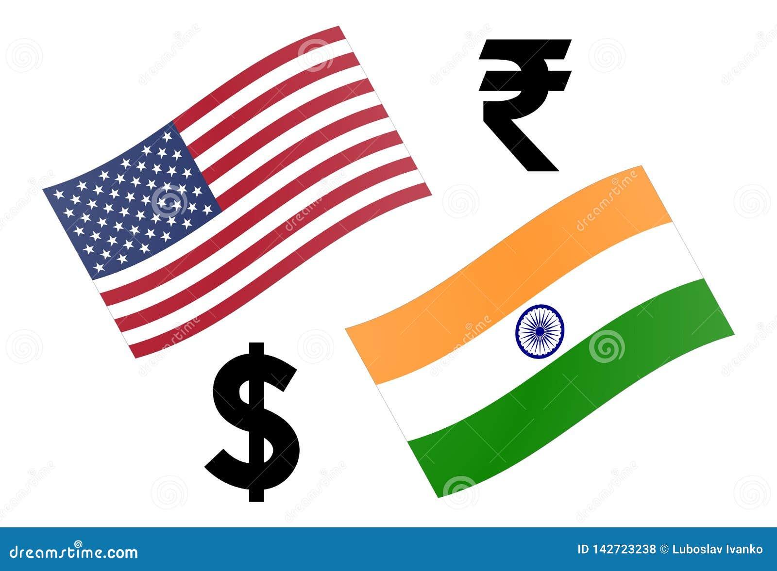 Ilustração do vetor dos pares da moeda dos estrangeiros de USDINR Bandeira americana e indiana, com símbolo do dólar e da rupia