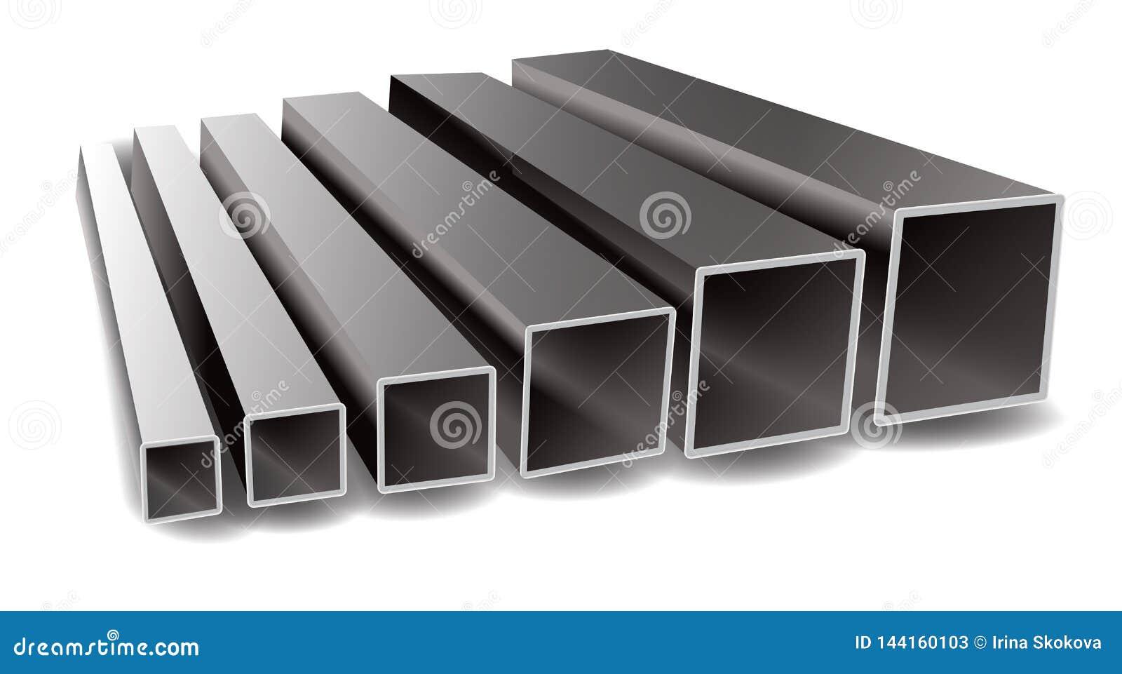 Ilustração do vetor dos tubos do quadrado do ferro em um fundo branco