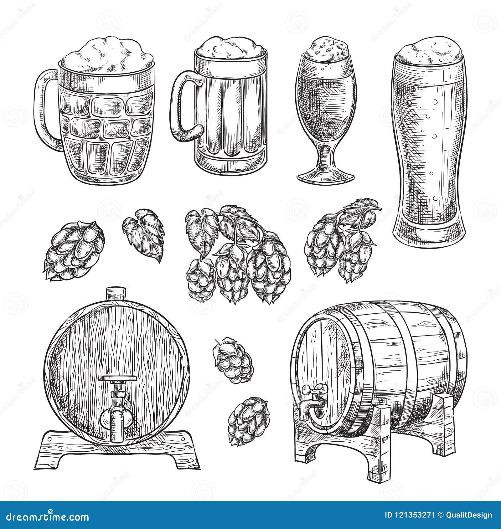 Ilustração do vetor do esboço da cerveja Os vidros, as canecas, os lúpulos, os elementos isolados tirados mão do tambor para o ba