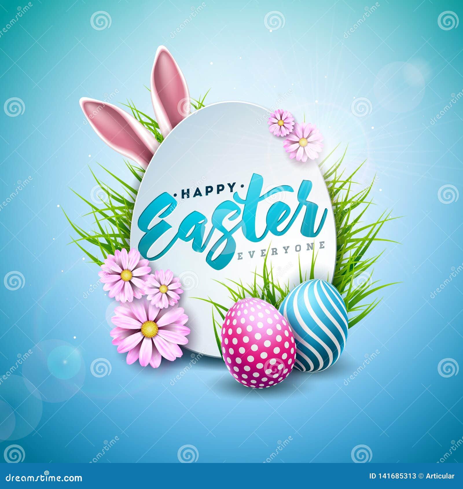 Ilustração do vetor do feriado feliz da Páscoa com ovo, as orelhas de coelho e a flor pintados da mola no fundo azul brilhante