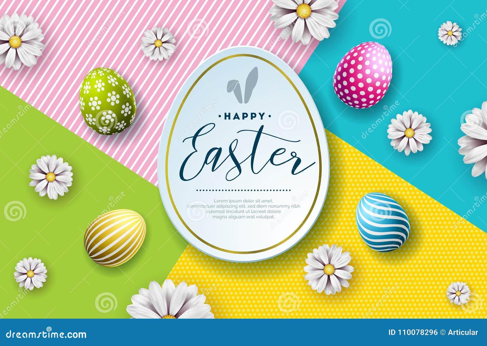 Ilustração do vetor do feriado feliz da Páscoa com ovo e a flor pintados no fundo abstrato internacional