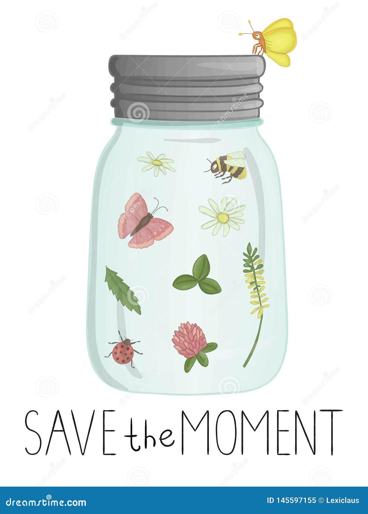 Ilustração do vetor do frasco de vidro com insetos e flores para dentro