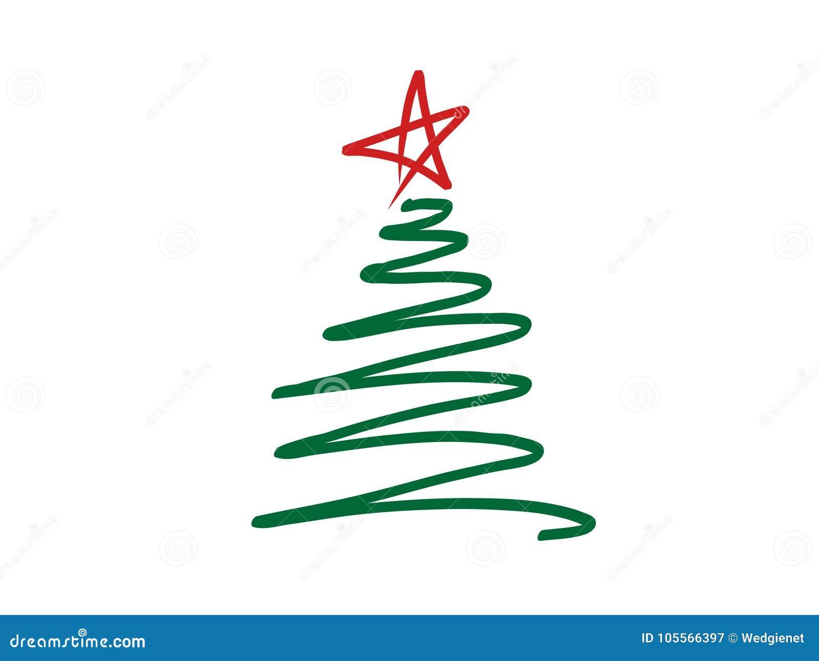 A ilustração do vetor do garatuja-estilo estilizou o garrancho da árvore de Natal com a estrela vermelha na parte superior