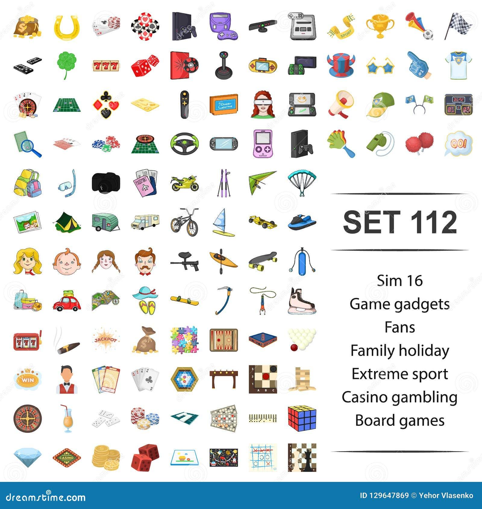 Ilustração do vetor do jogo, dispositivo, fã, família, do casino extremo do esporte do feriado grupo de jogo do ícone da placa
