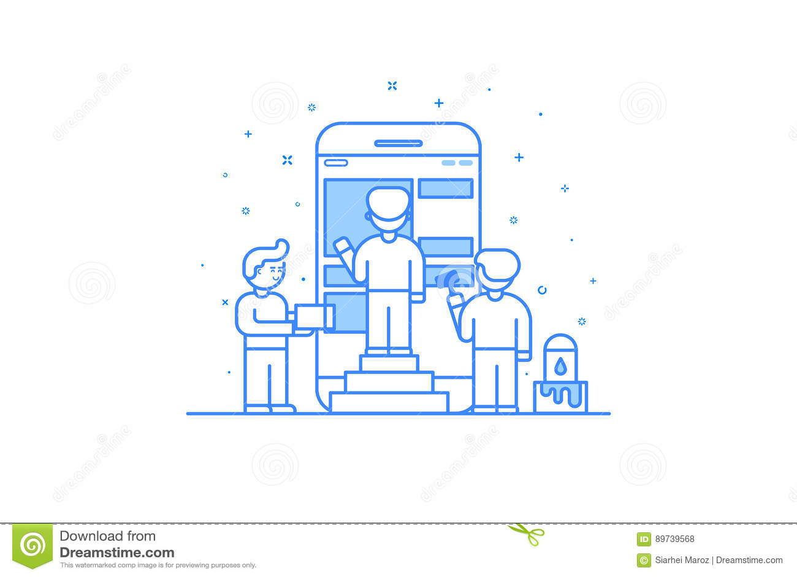 Ilustração do vetor no estilo liso do esboço Conceito de projeto gráfico do desenvolvimento móvel do projeto e da interface de ut