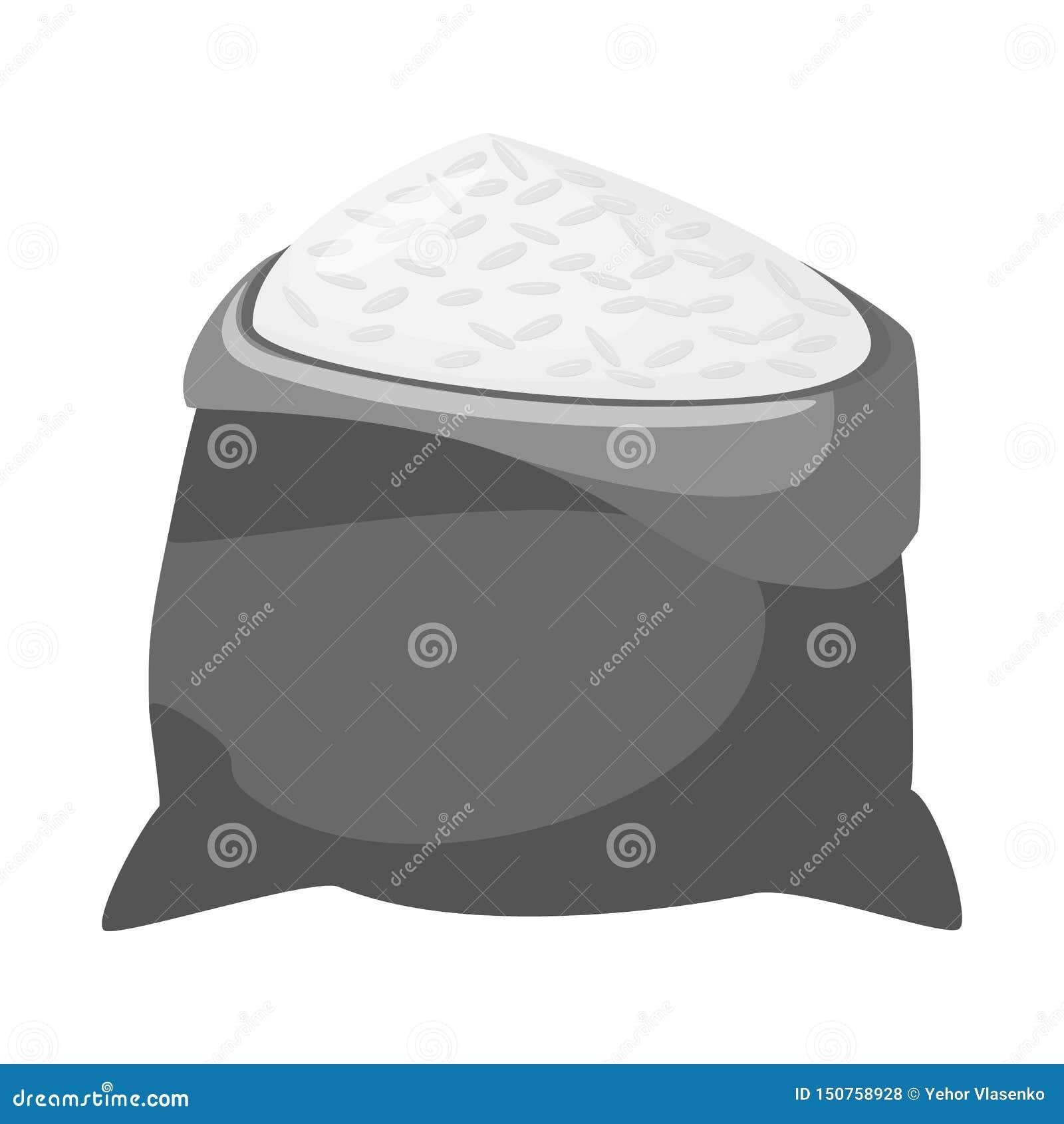 Ilustração do vetor do símbolo do saco e do arroz Coleção do saco e ícone por atacado do vetor para o estoque