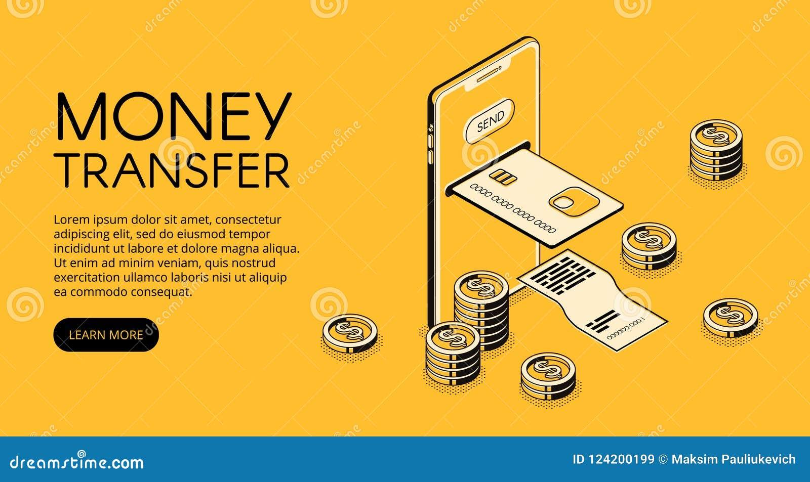 Ilustração do vetor do smartphone de transferência de dinheiro