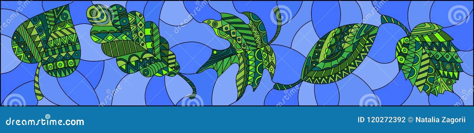 Ilustração do vitral com as folhas modeladas no fundo azul, orientação horizontal