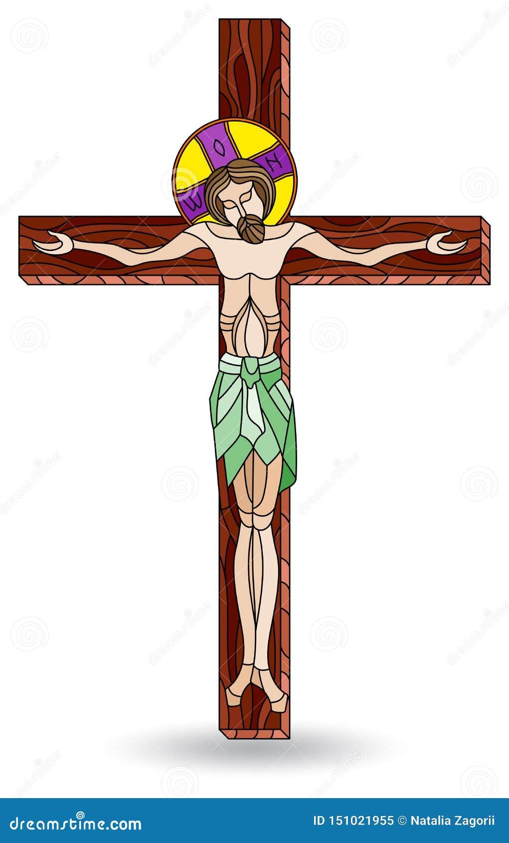 Ilustração do vitral com a crucificação e o Jesus Christ, isolados no fundo branco