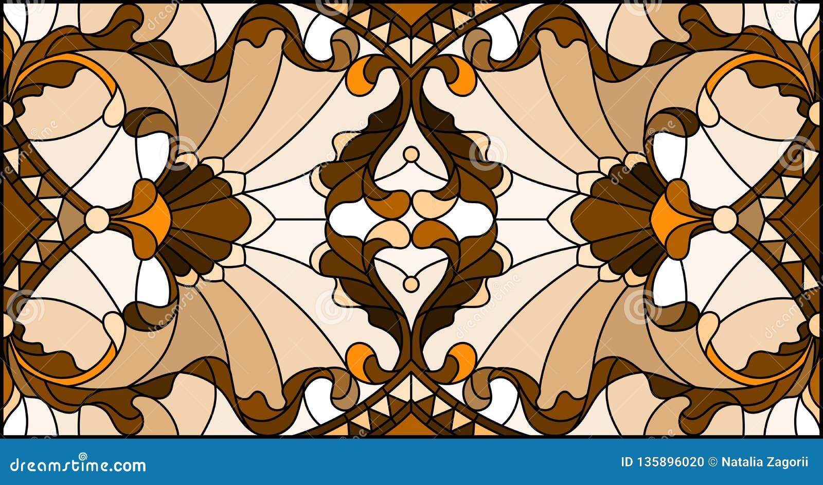 Ilustração do vitral com redemoinhos abstratos, flores e folhas em um fundo claro, orientação horizontal, sepia
