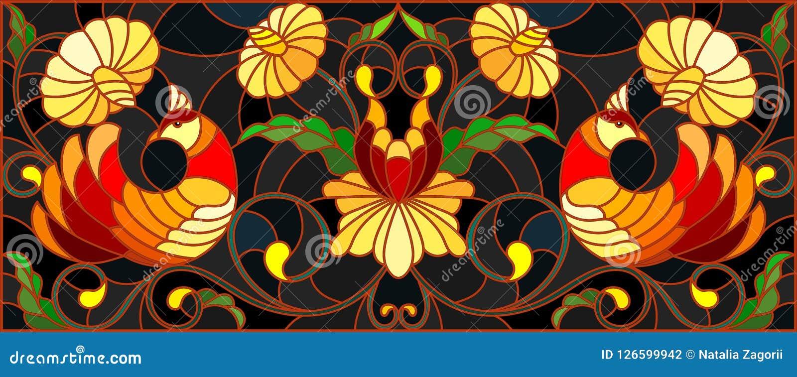 Ilustração do vitral com um par de pássaros, de flores e de testes padrões em um fundo escuro, imagem horizontal, a imitação de p