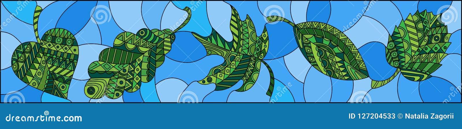 A ilustração do vitral com verde modelado sae no fundo azul, orientação horizontal
