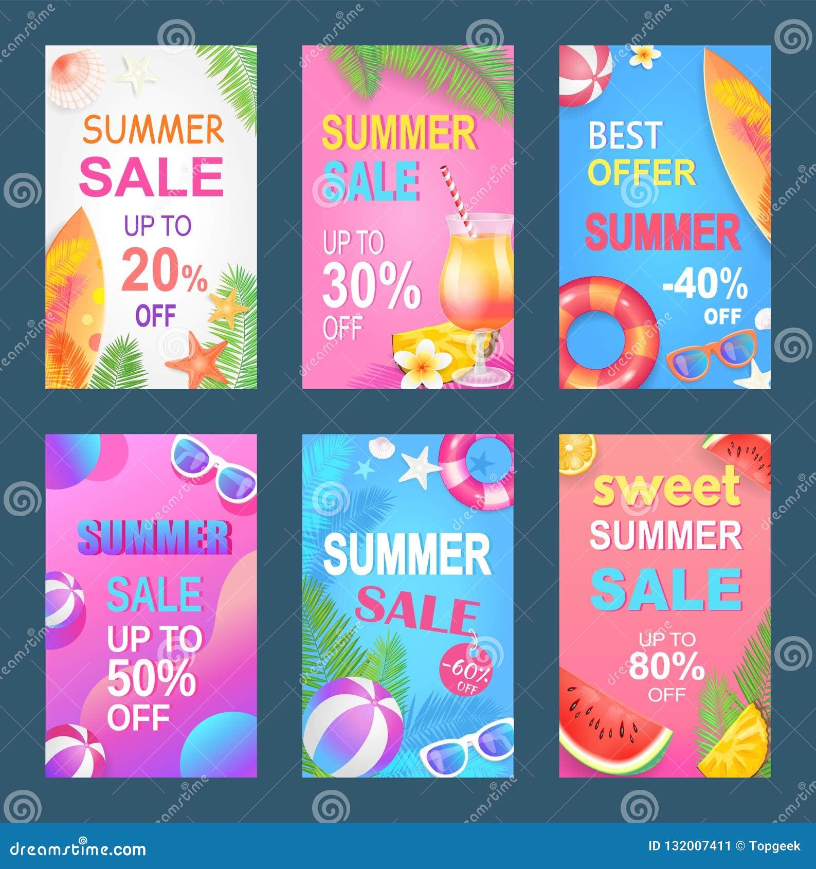 Ilustração doce do vetor do grupo do verão da melhor oferta