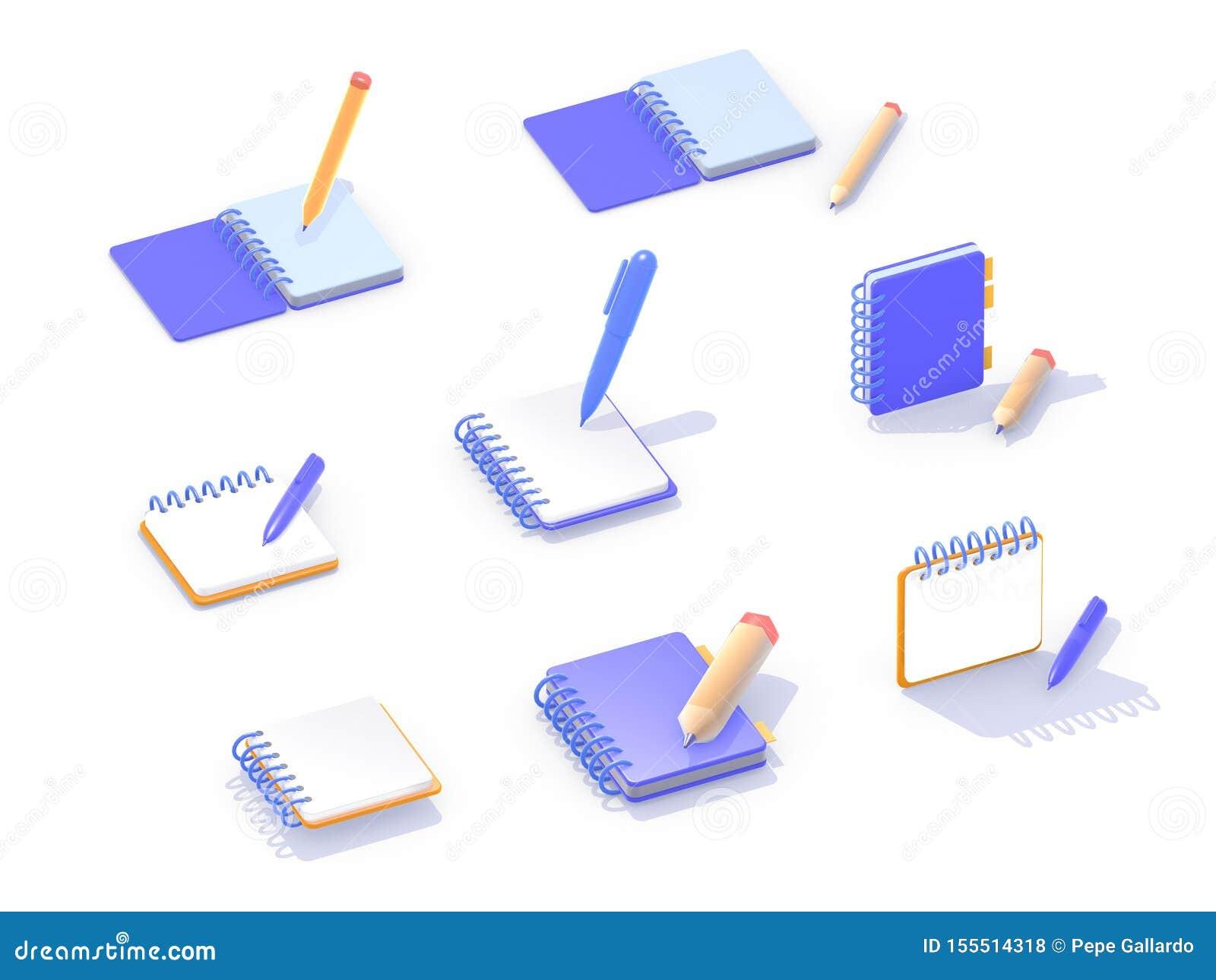 Ilustração dos ícones 3d isométricos
