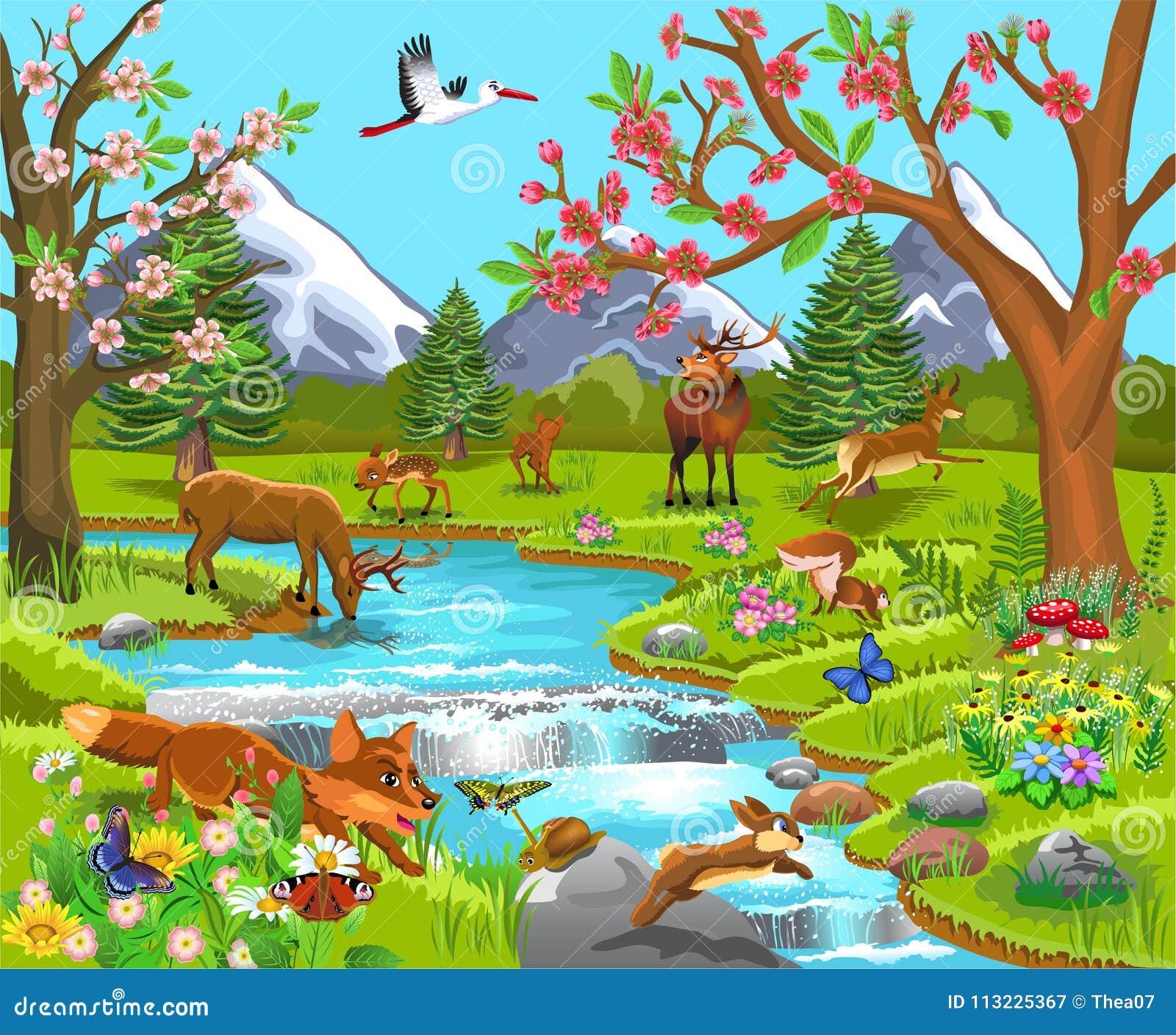 Ilustracao Dos Desenhos Animados De Animais Selvagens Em Uma