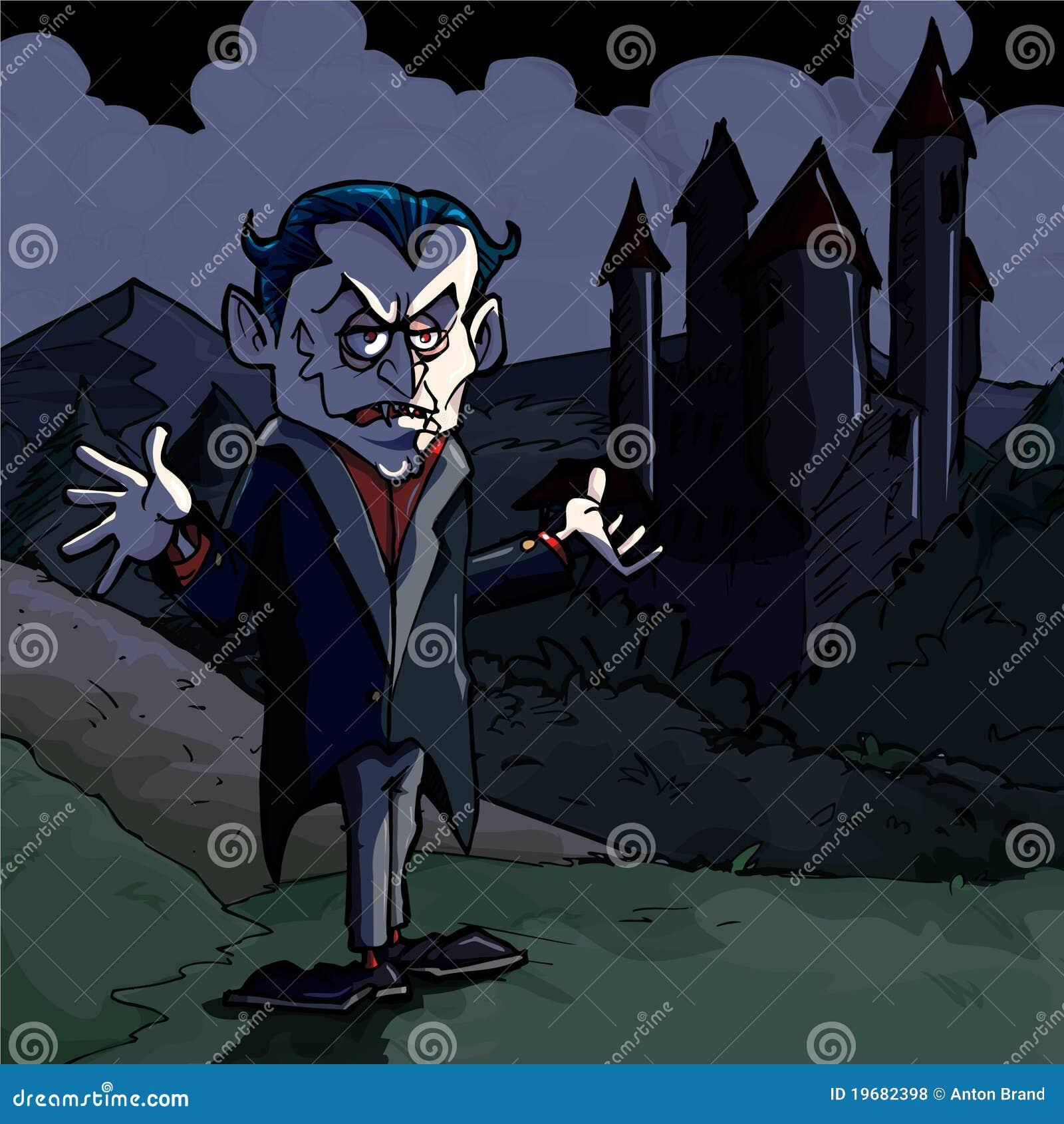 Ilustração dos desenhos animados de Dracula e de castelo